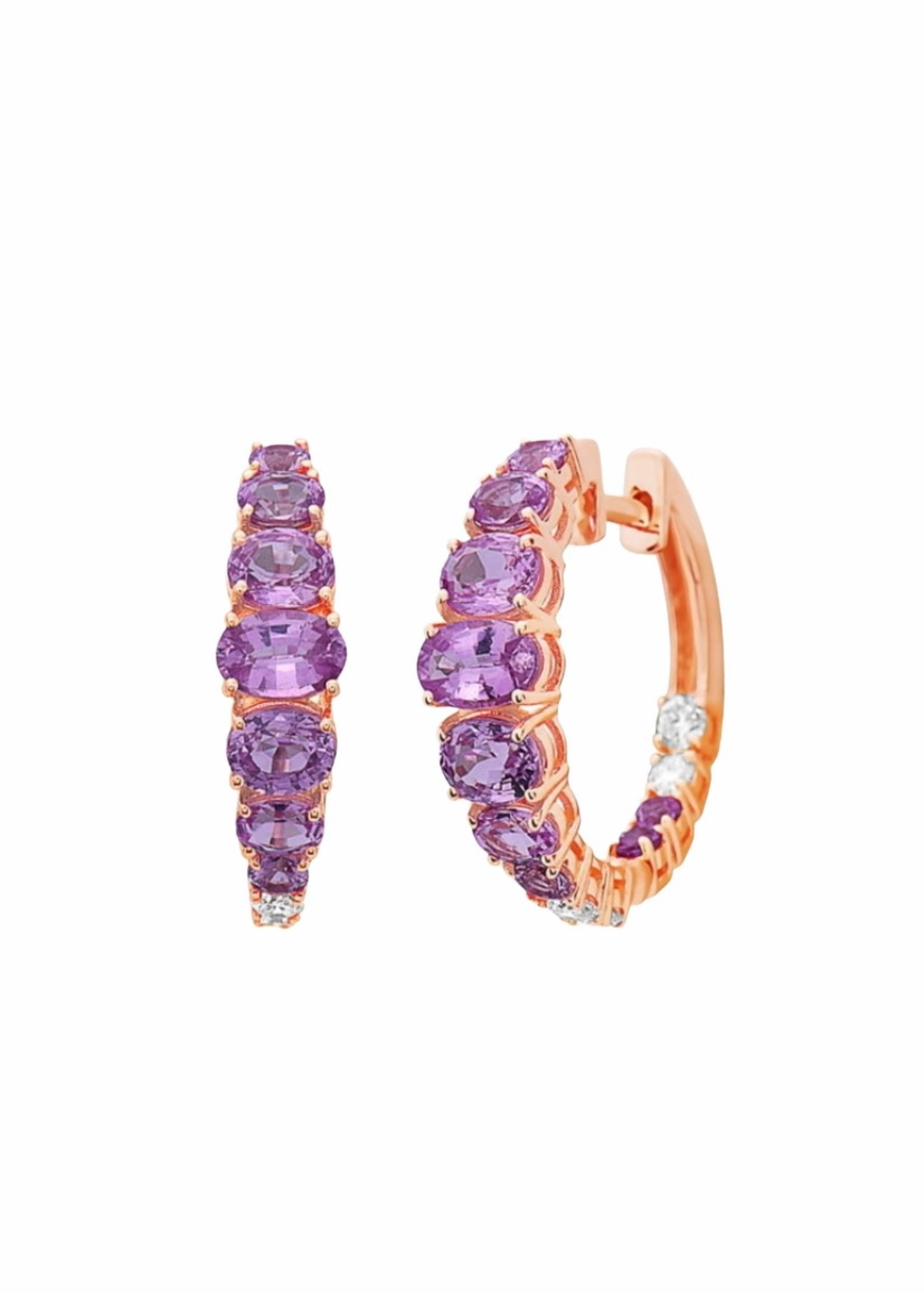 Jill Alberts Pink Sapphire Hoop Earrings