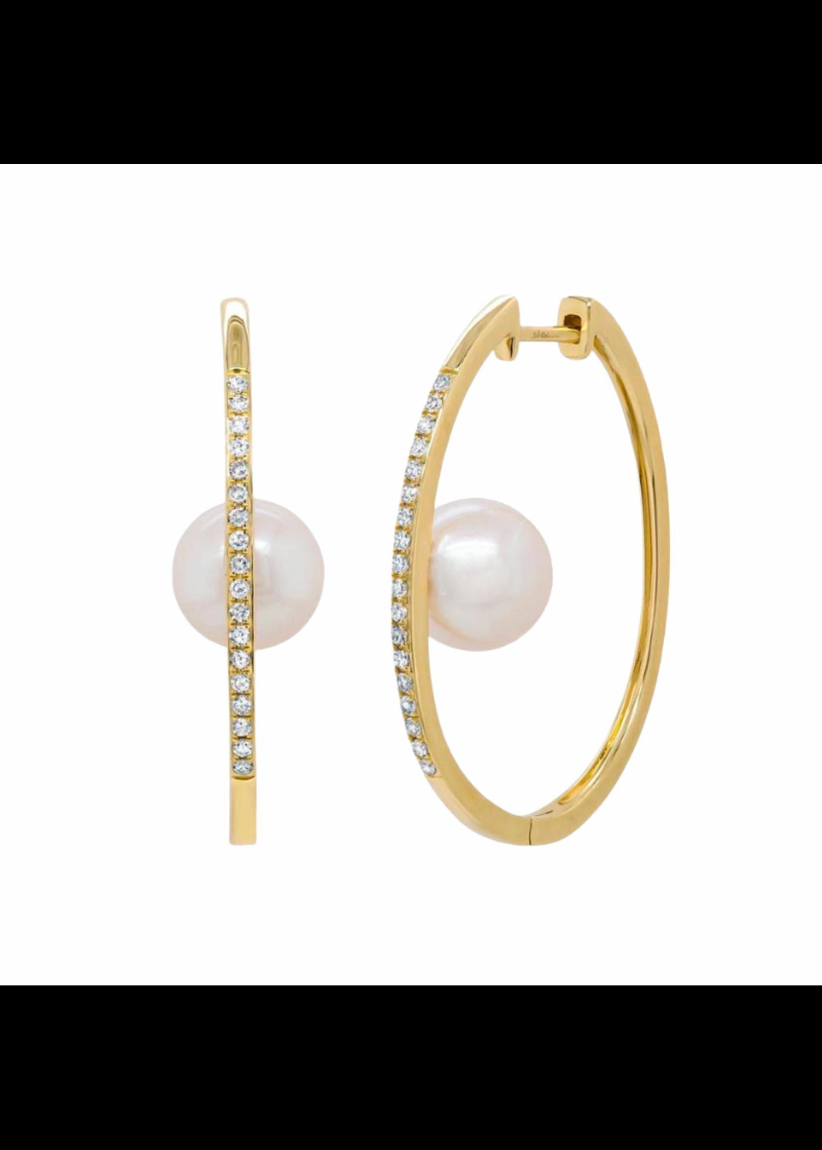 Jill Alberts Diamond & Pearl  Hoop Earrings