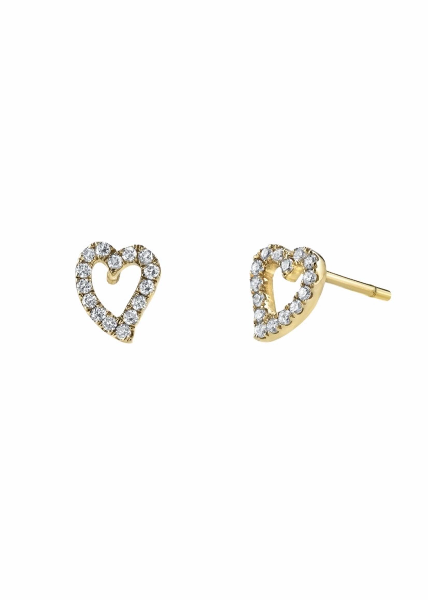 Borgioni Small Pave Diamond Heart Studs