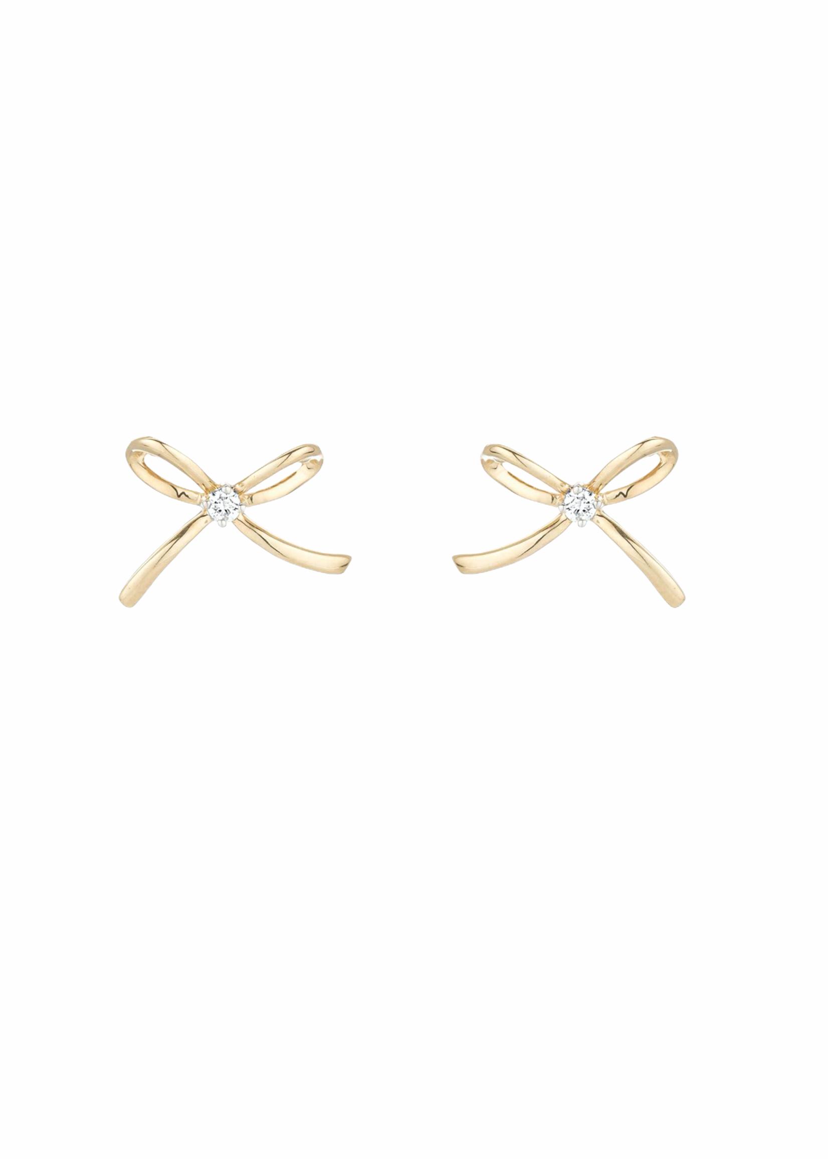 Adina Reyter Tiny Single Diamond Bow Posts