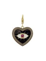 Have a Heart Enamel Evil Eye Heart Charm with Ruby