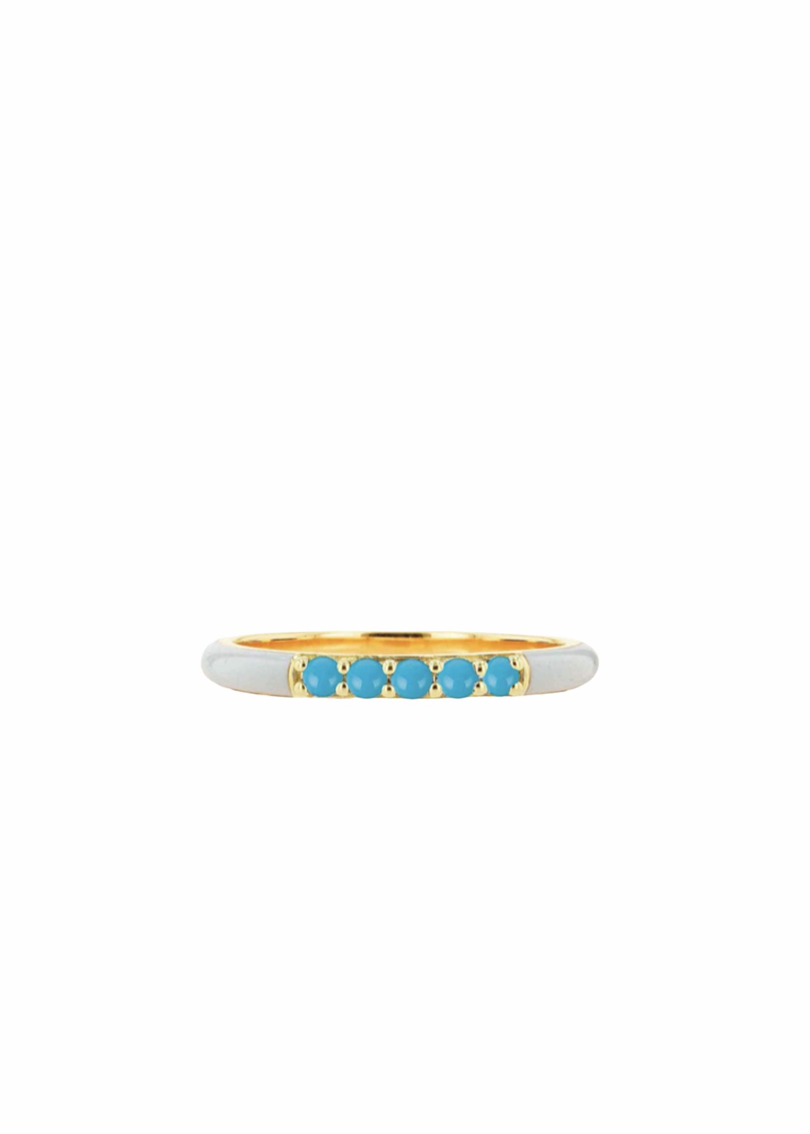 Rachel Reid White Enamel & Turquoise Band Ring