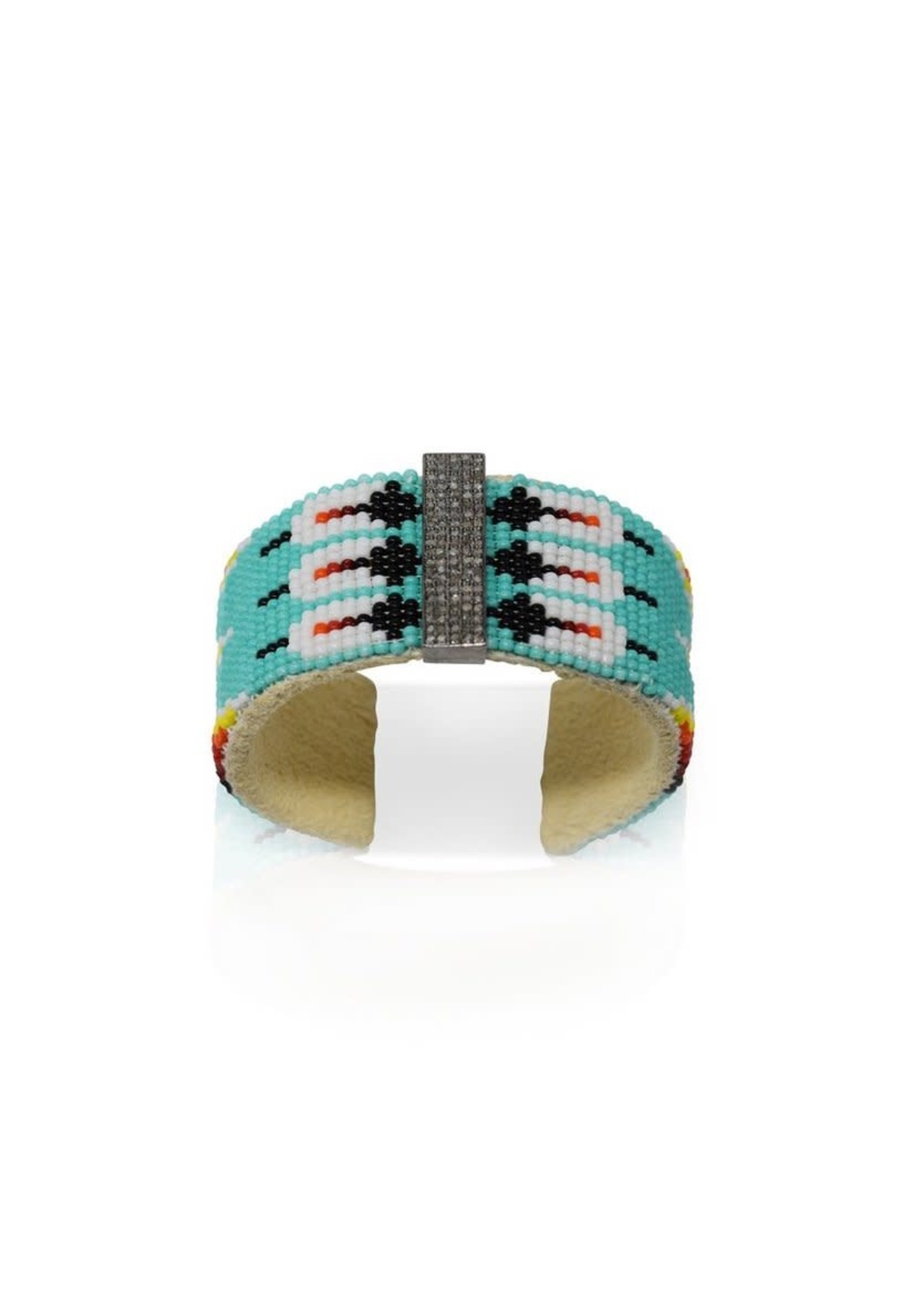 S. Carter Designs Large Teal Beaded Cuff