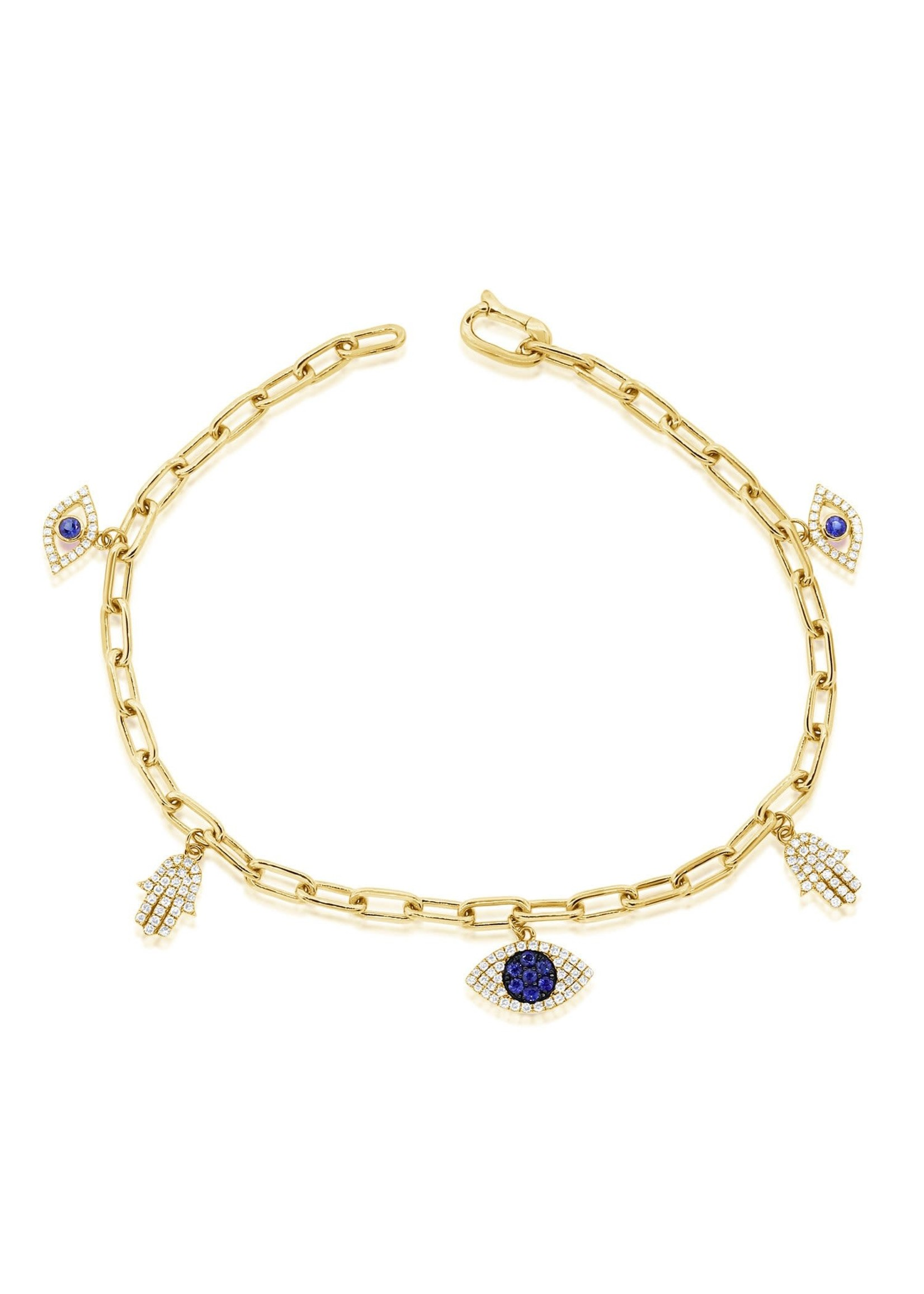Jill Alberts Diamond  & Sapphire Evil Eye Bracelet