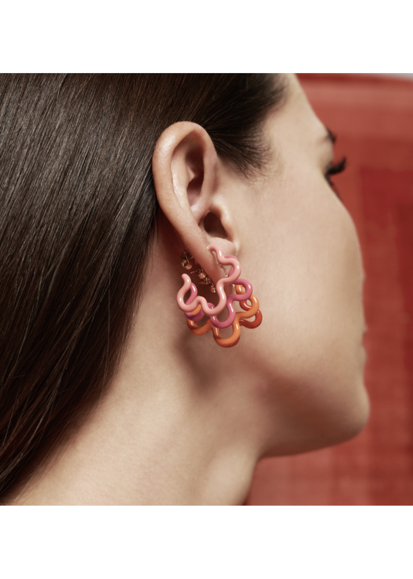Bea Bongiasca Coral & Hot Pink Flower Power Earrings