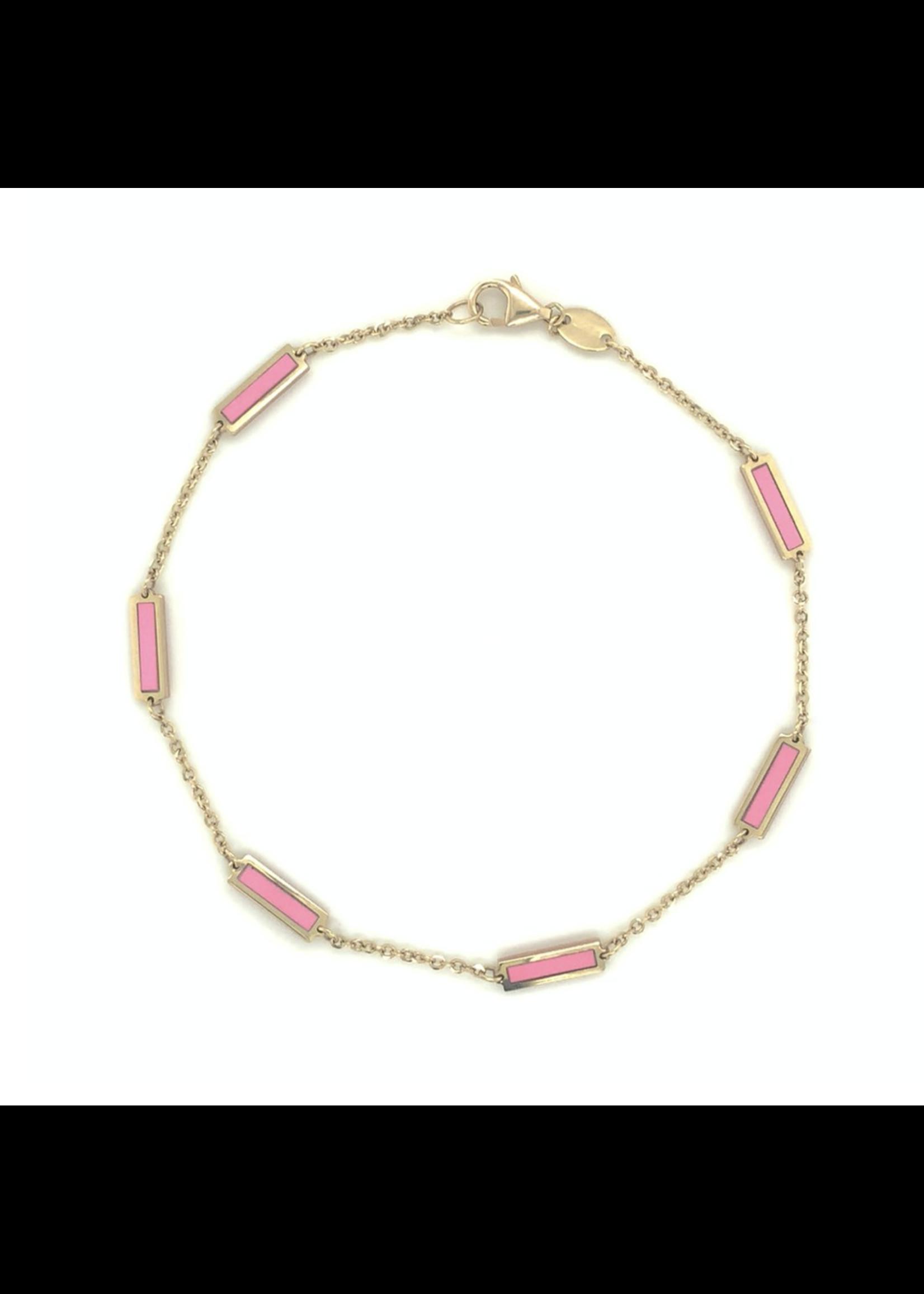 Jill Alberts Pink Bar Station Bracelet