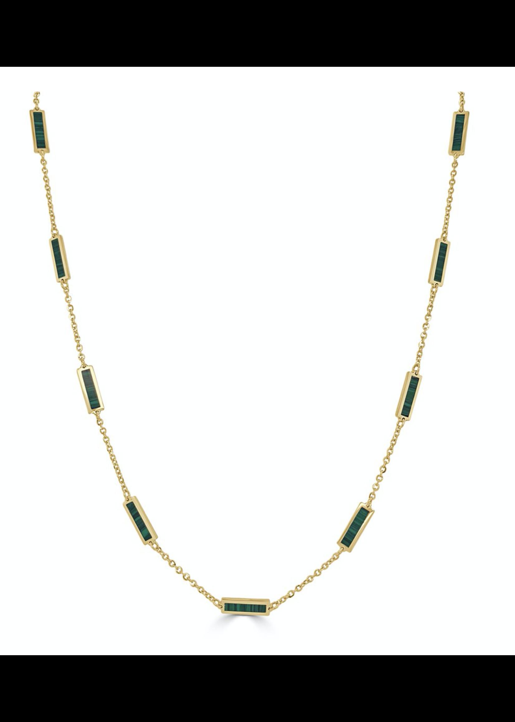 Jill Alberts Malachite Station Bar Necklace