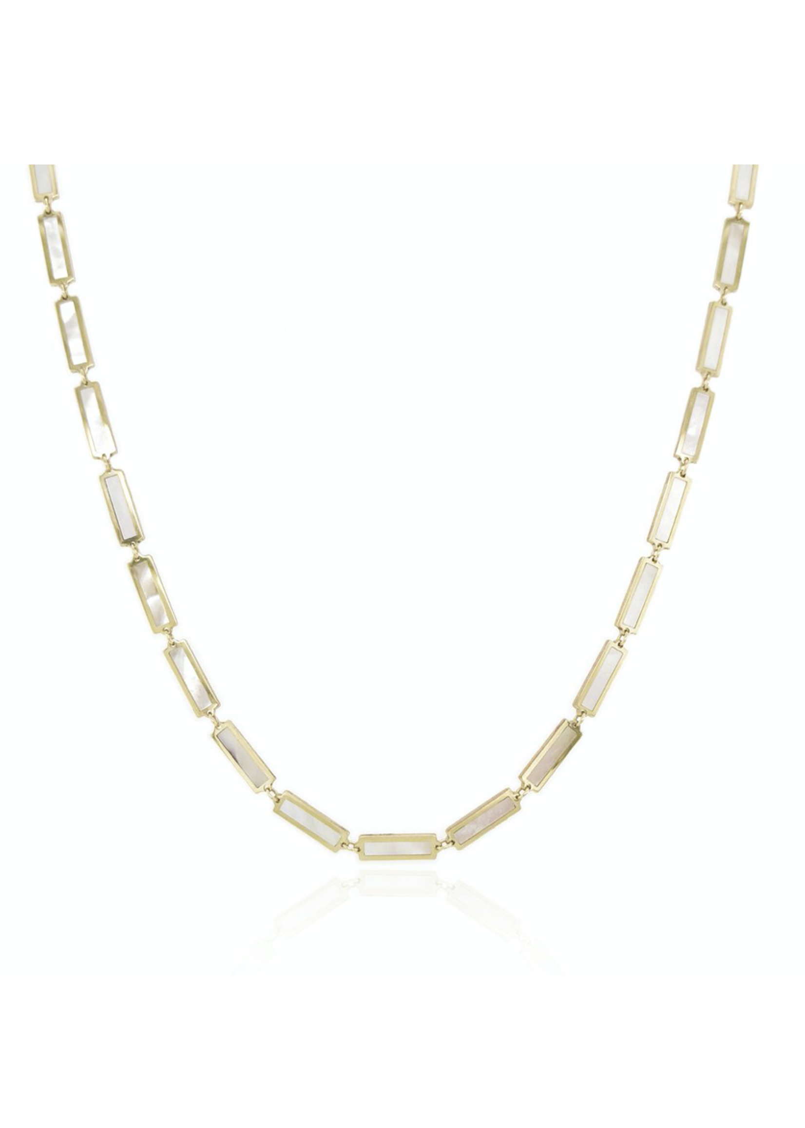 Jill Alberts Mother of Pearl Sation Bar Necklace