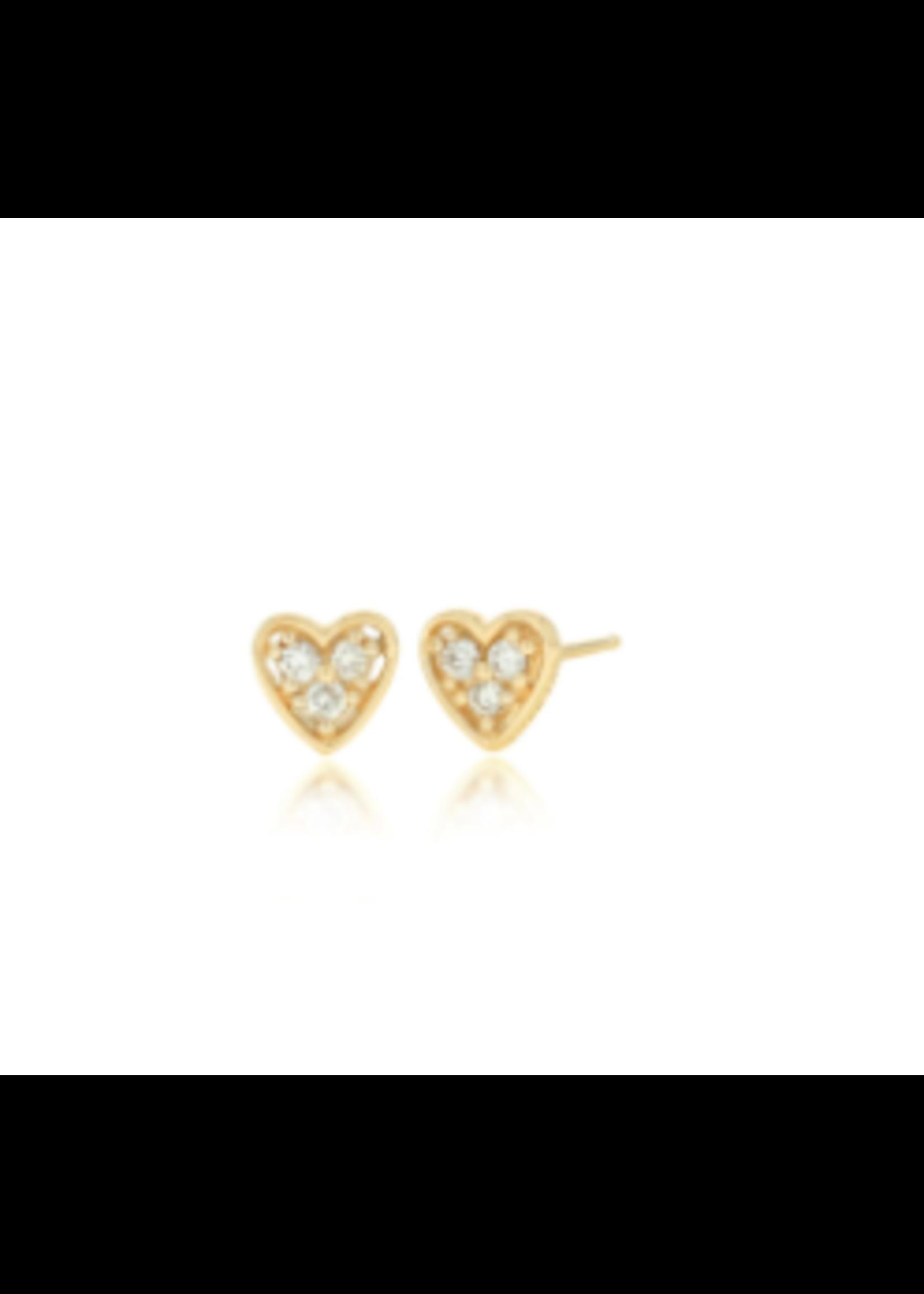 Rachel Reid Mini Diamond Heart Stud Earrings