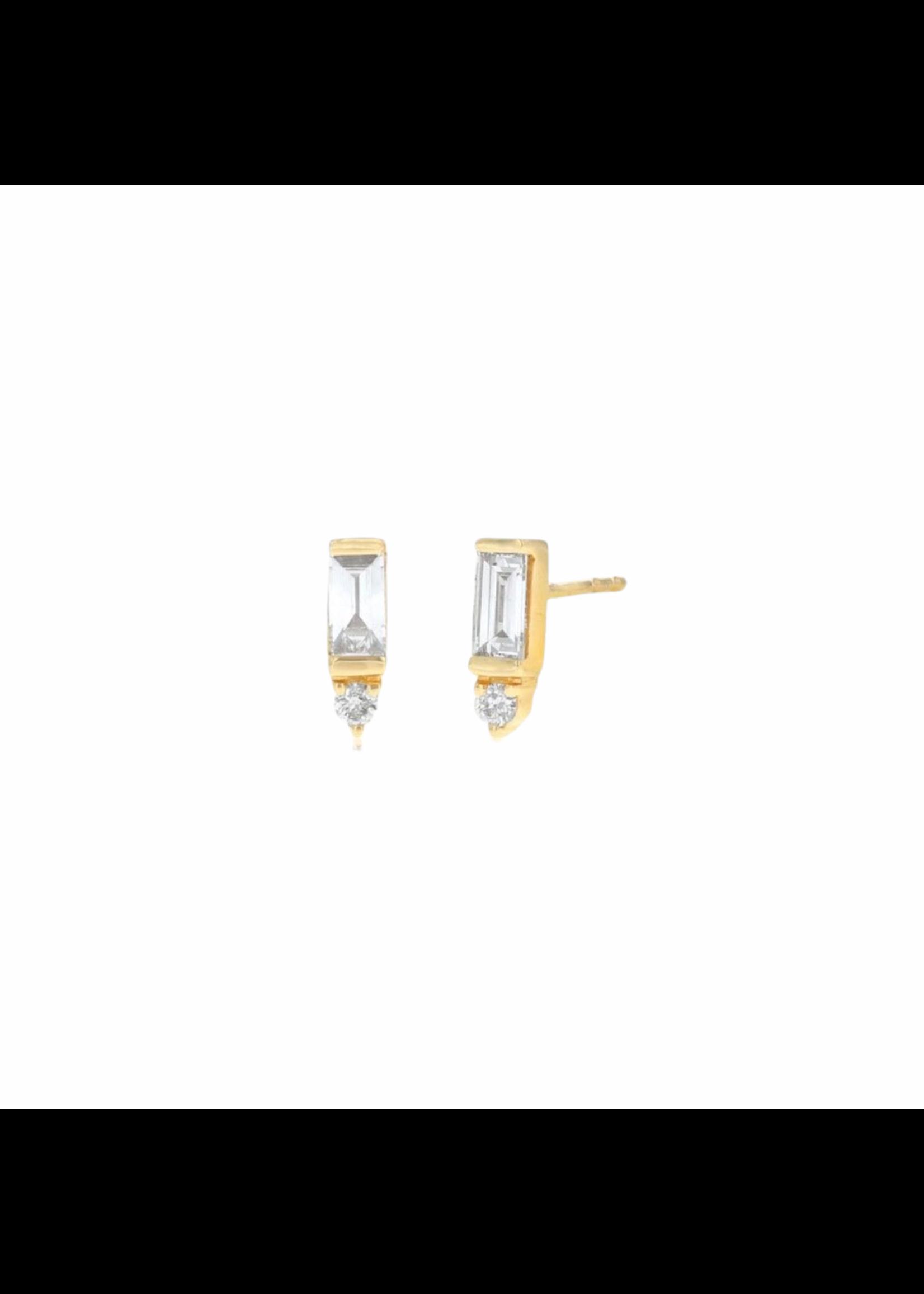 Rachel Reid Baguette & Round Diamond Stud Earrings