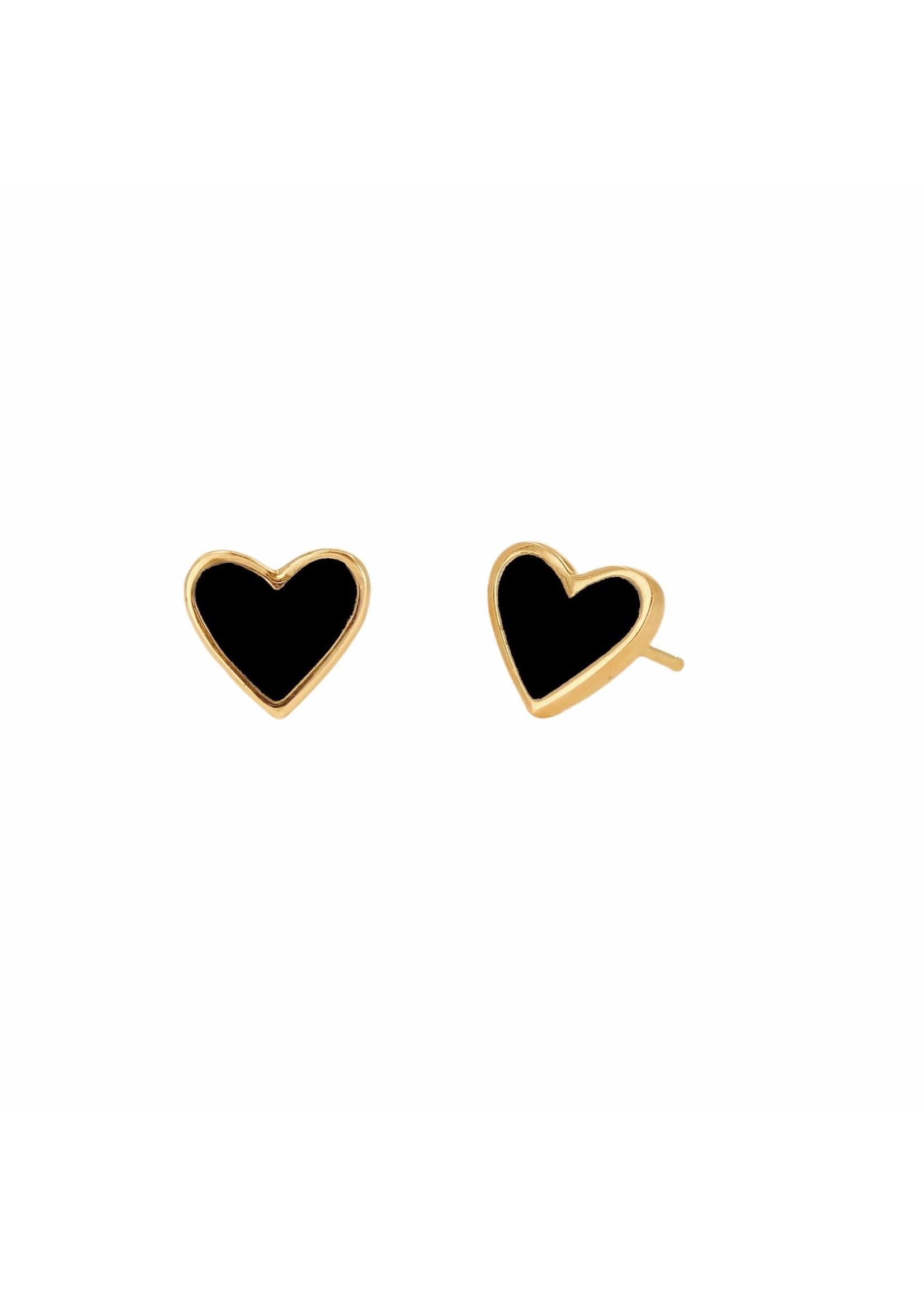 Rachel Reid Mini Black Heart Stud Earrings