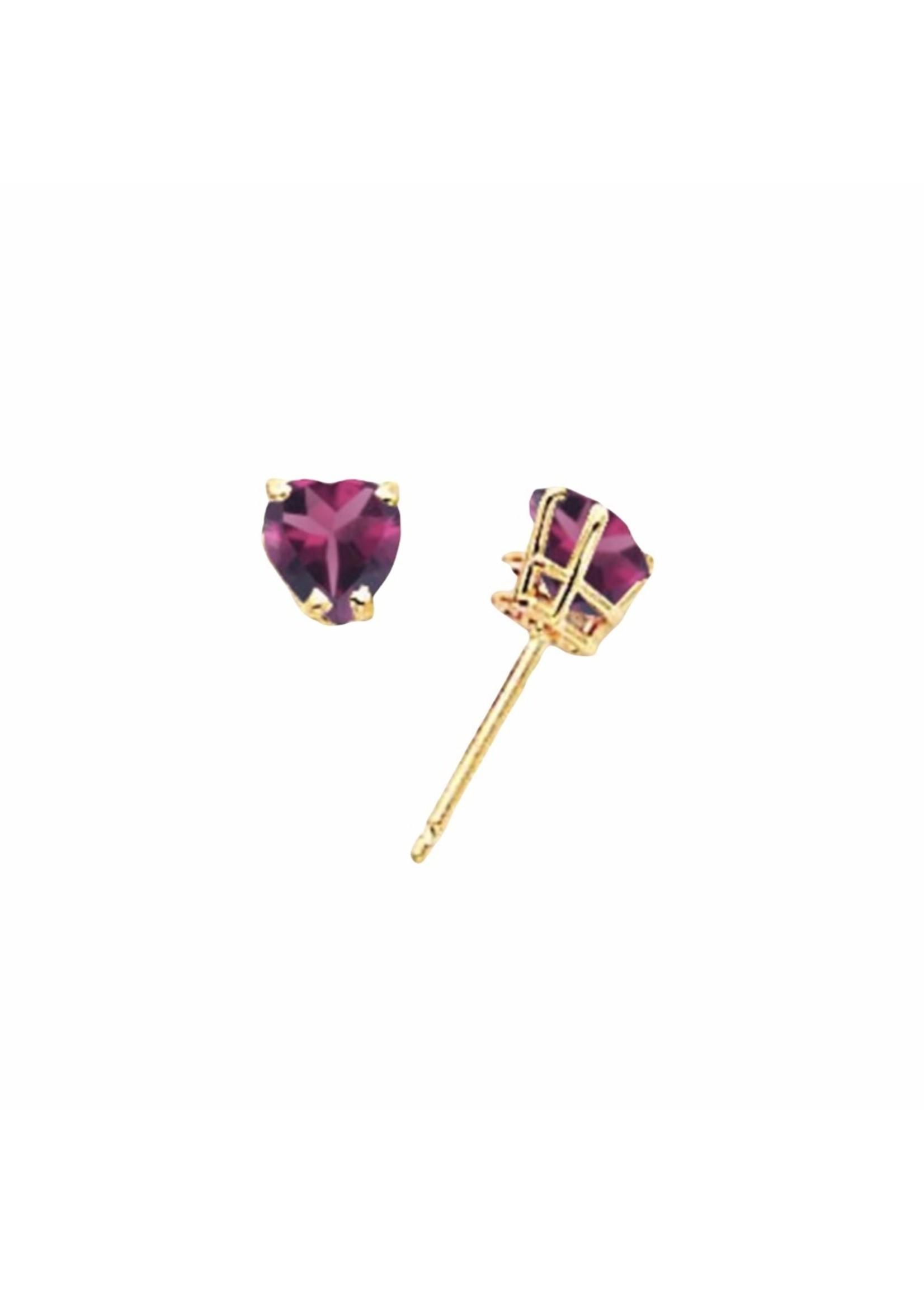 Jill Alberts Heart Rhodolite Garnet Stud Earrings