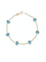 Jill Alberts Turquoise Mixed Heart Bracelet