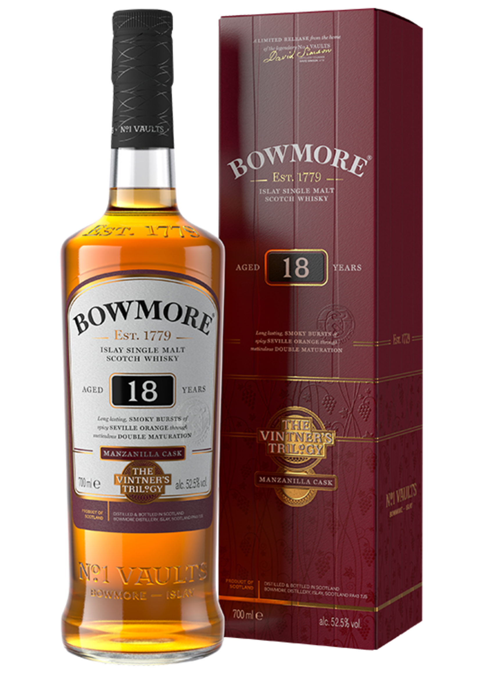 Bowmore Bowmore / 18 Year Manzanilla Cask Vintner's Trilogy 52.5% abv / 750mL
