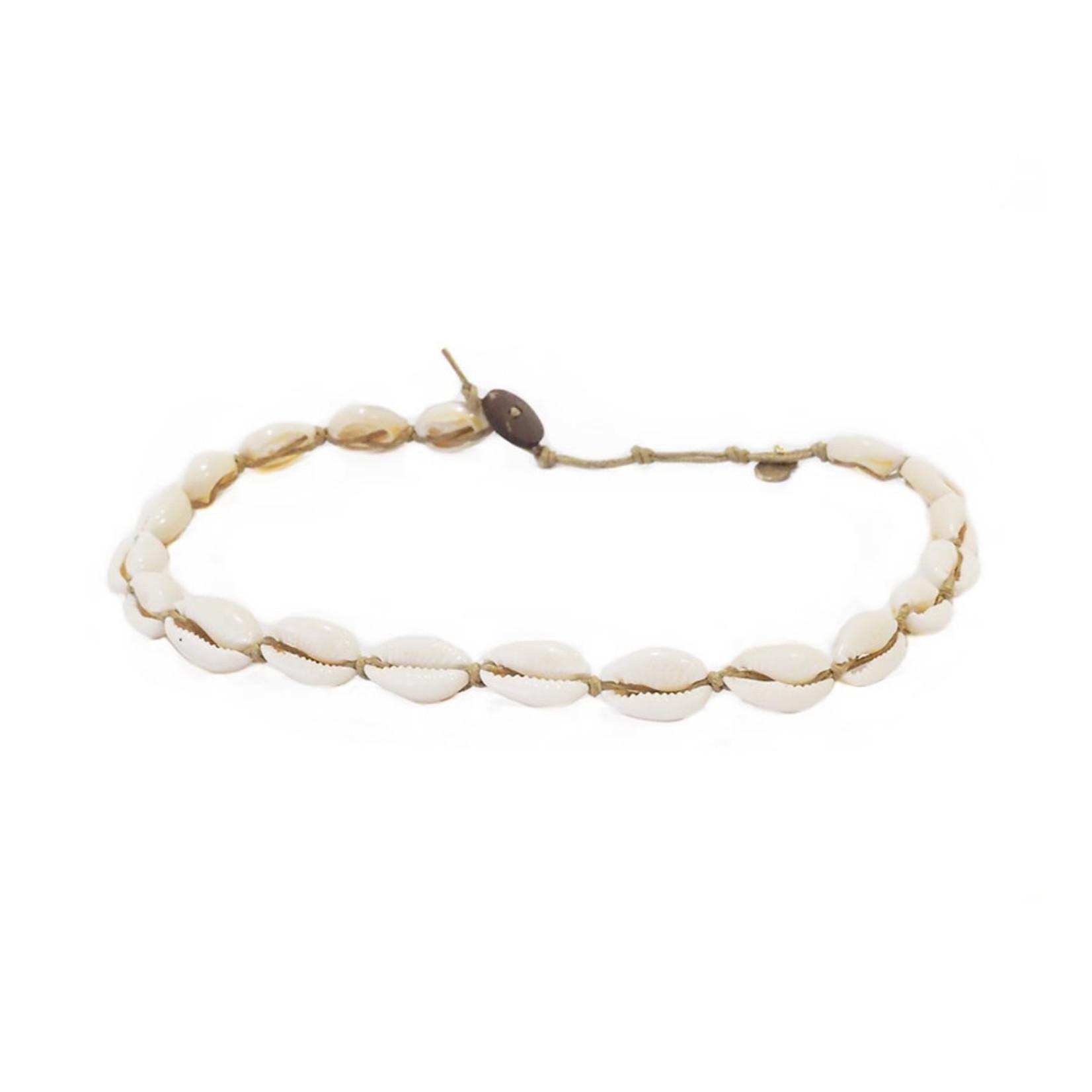 Lotus and Luna Cowry Shell Choker/Double Wrap Bracelet