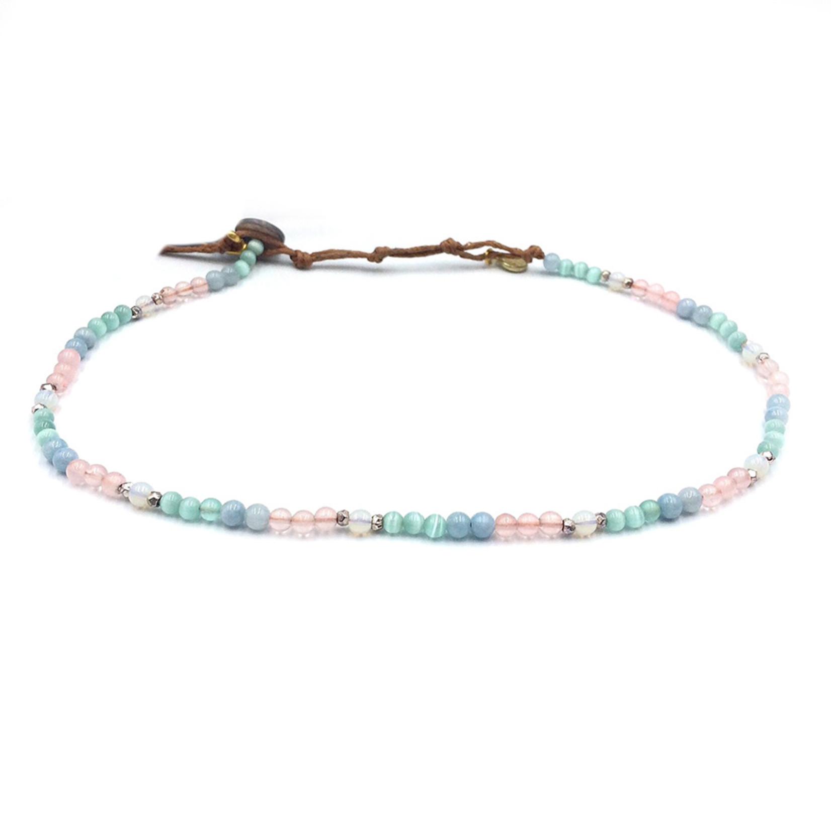 Lotus and Luna 4mm Necklace/ Wrap Bracelet
