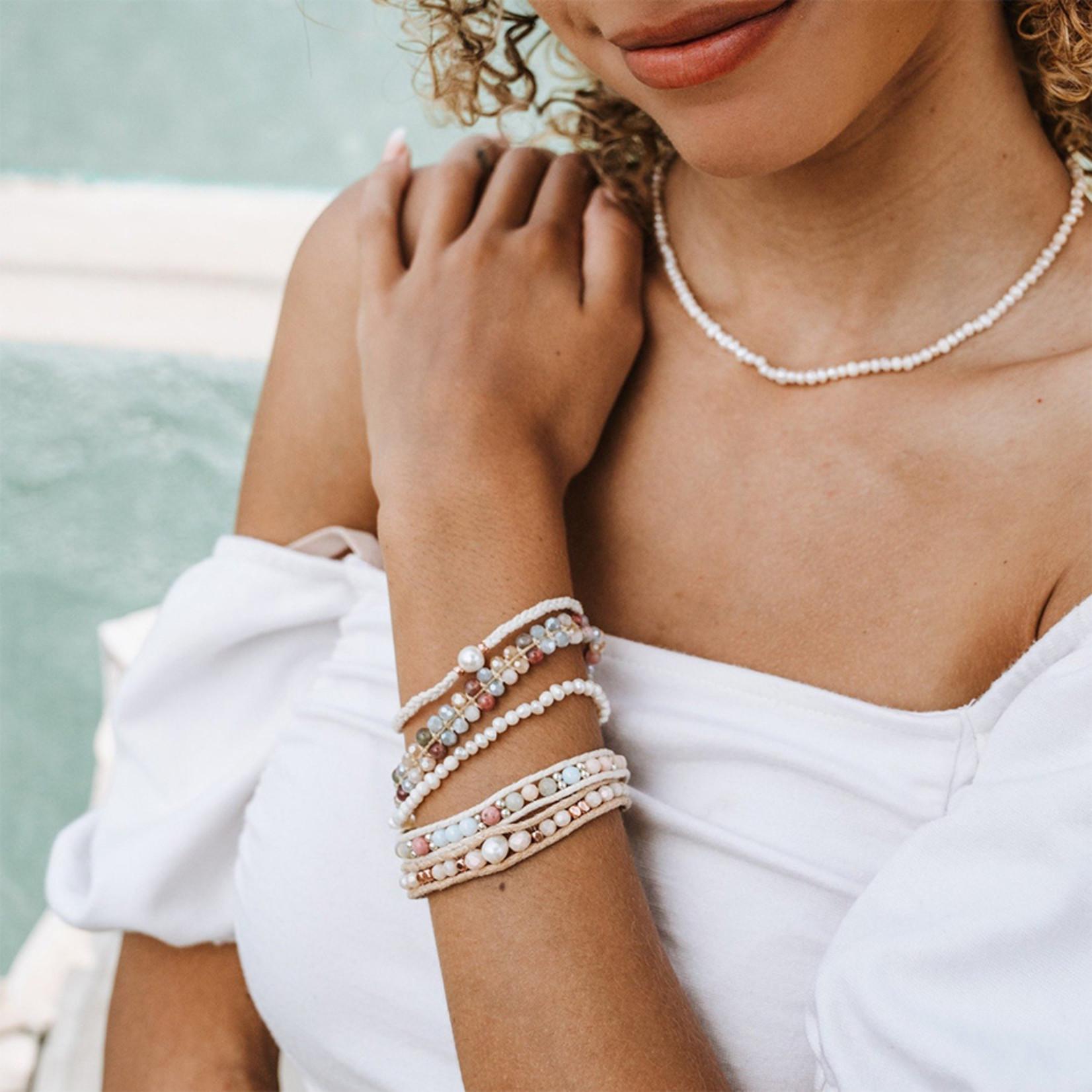 Lotus and Luna Braided Stone Bracelet