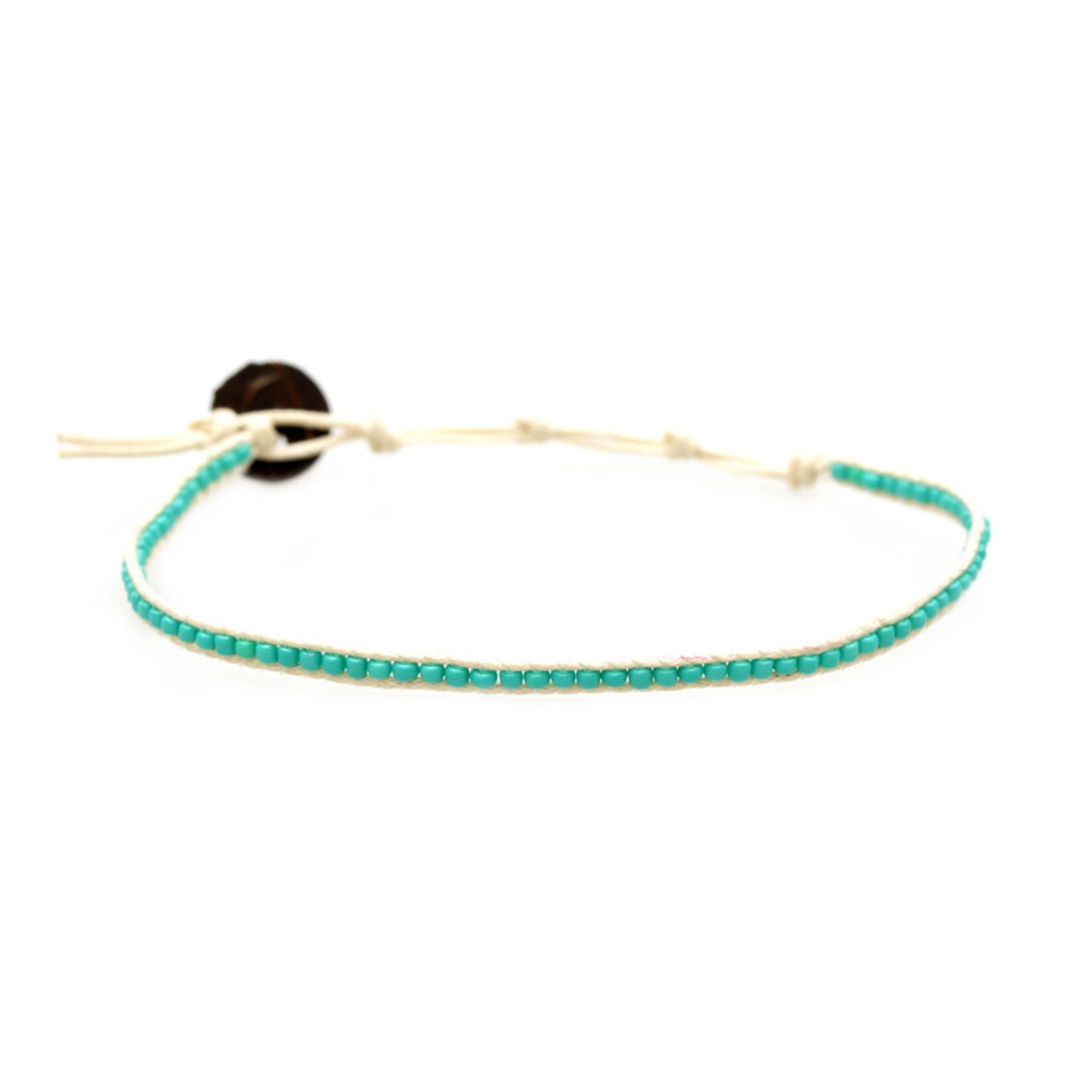 Lotus and Luna Seed Bead Anklet