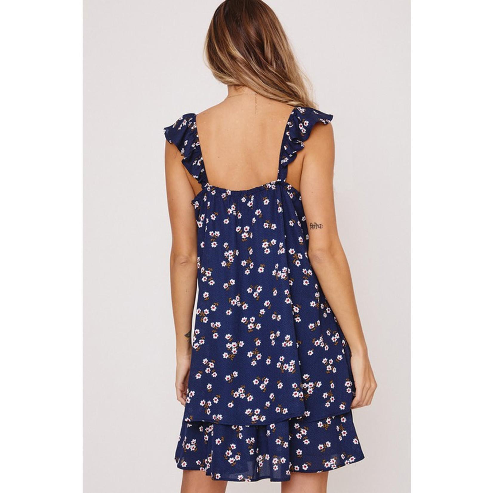 Ces Femme Floral Dress w/ Ruffle Shoulder
