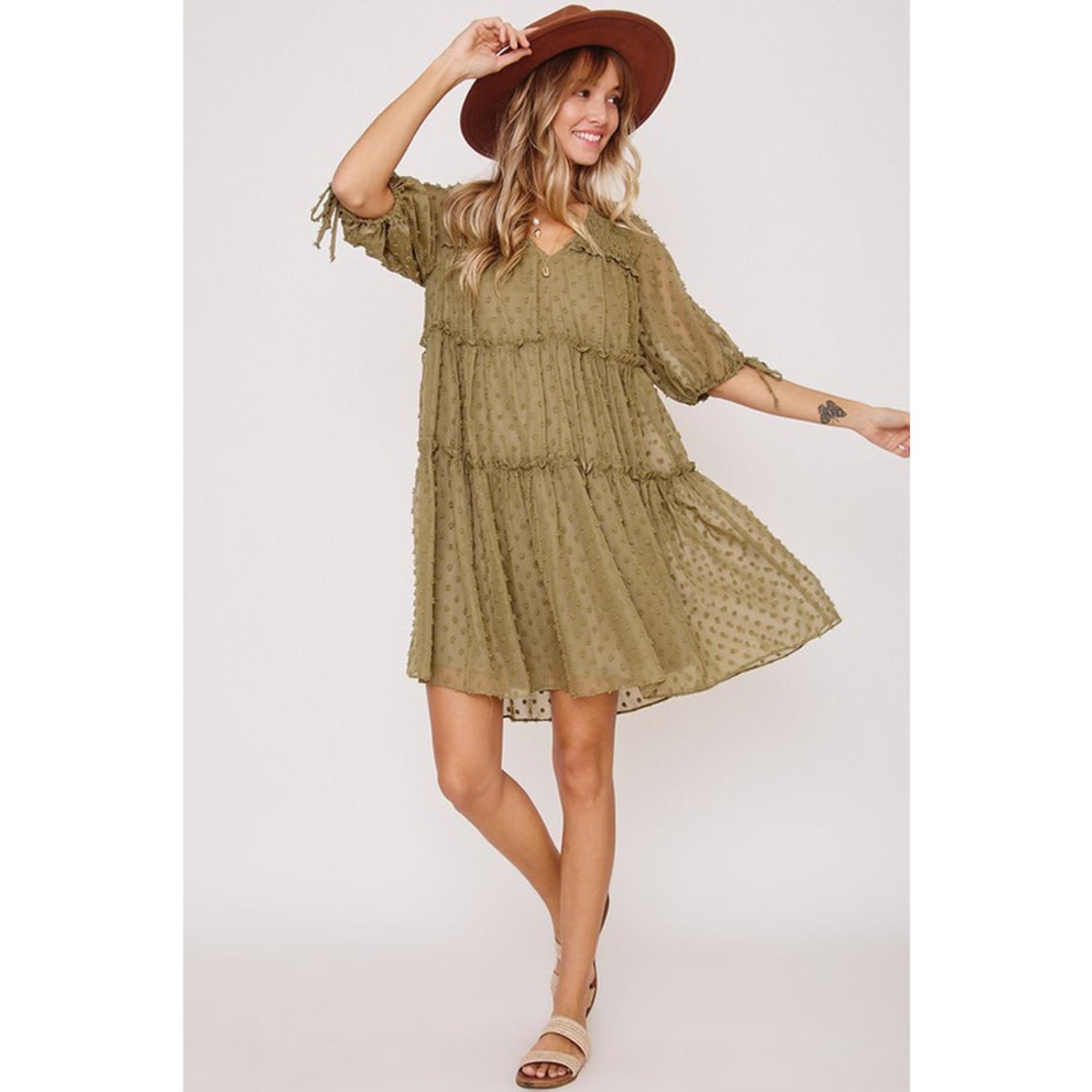 Ces Femme Puff Sleeve Textured Dress