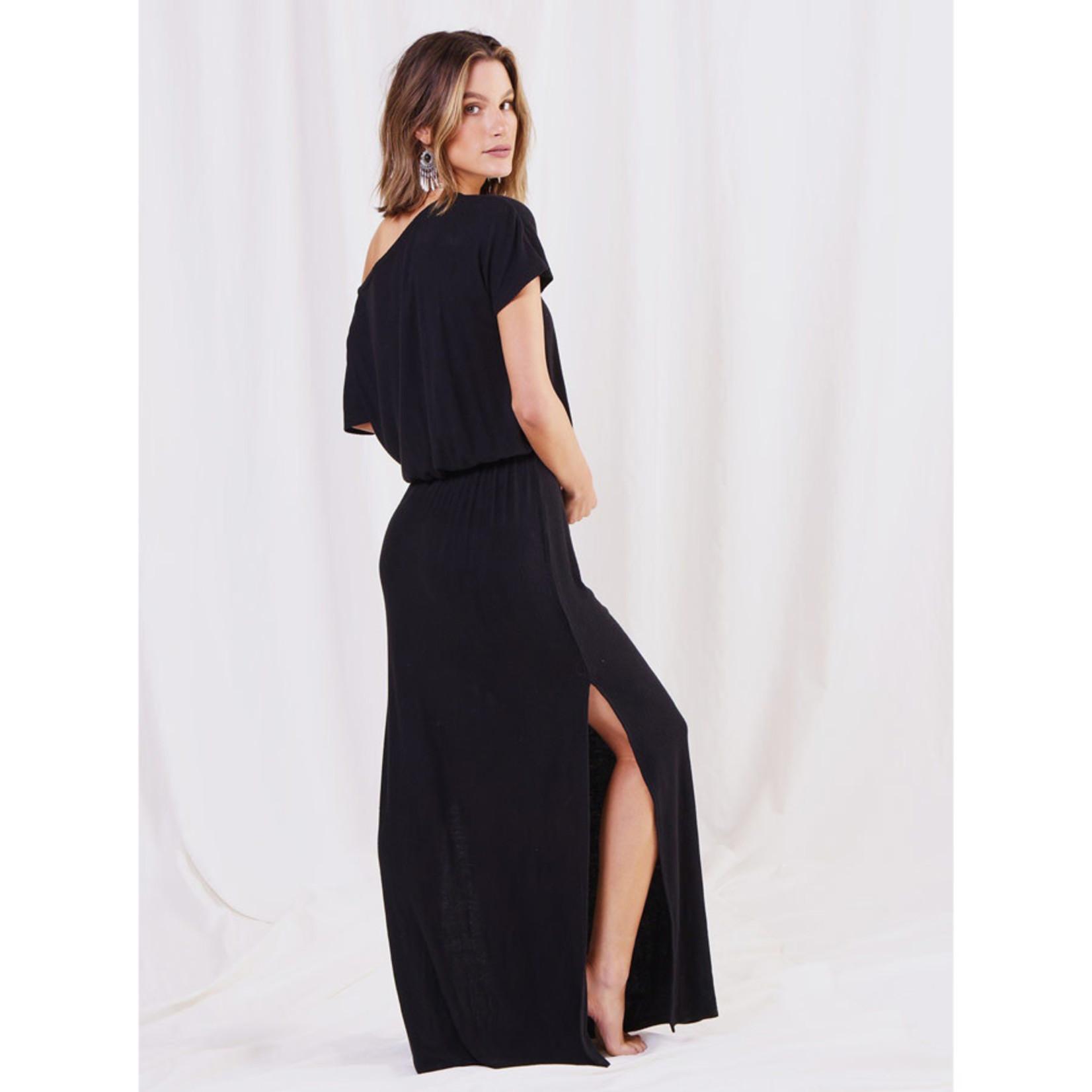 Love Stitch Bamboo Rib Off Shoulder Dress