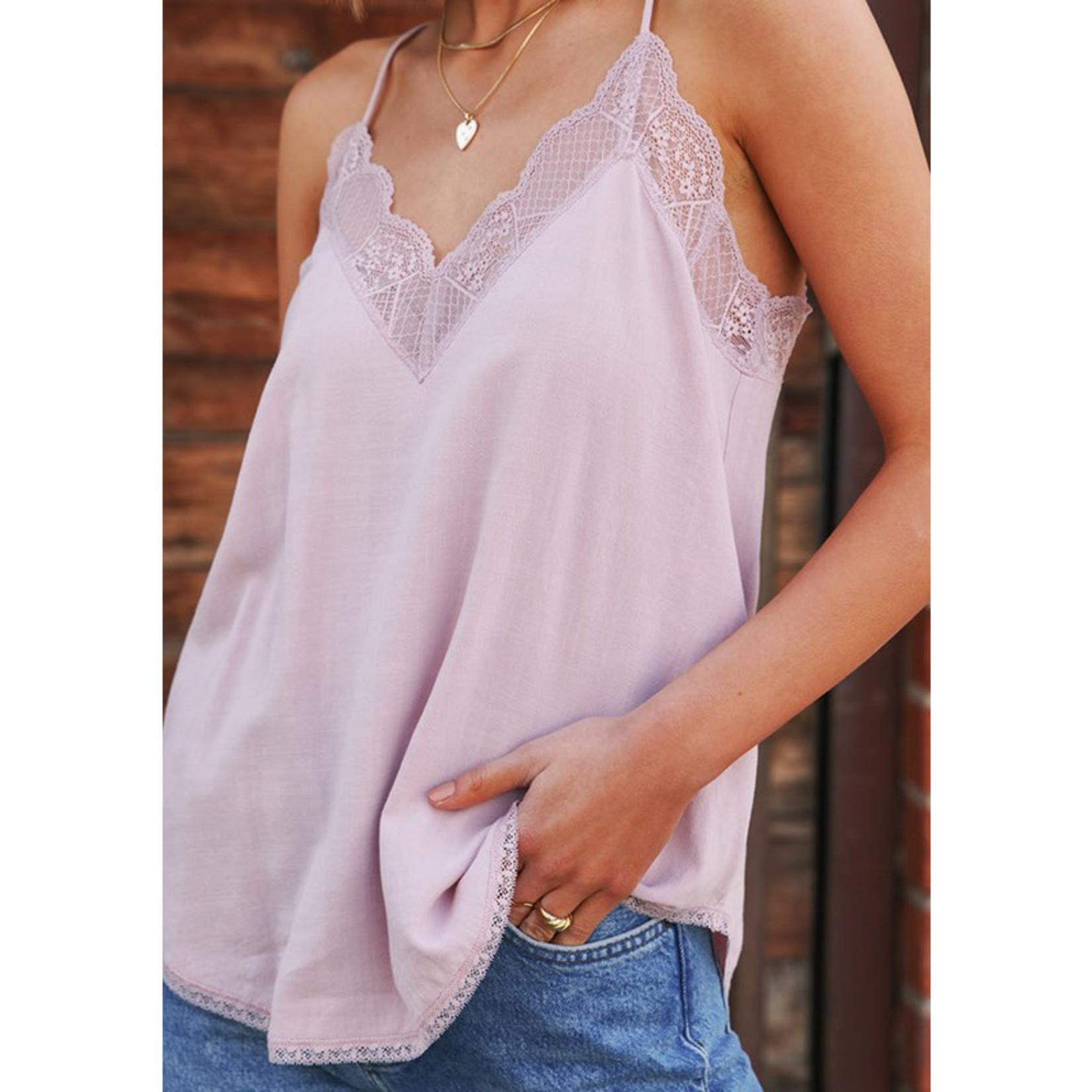 Love Stitch Cotton Linen Cami w/Lace Trim