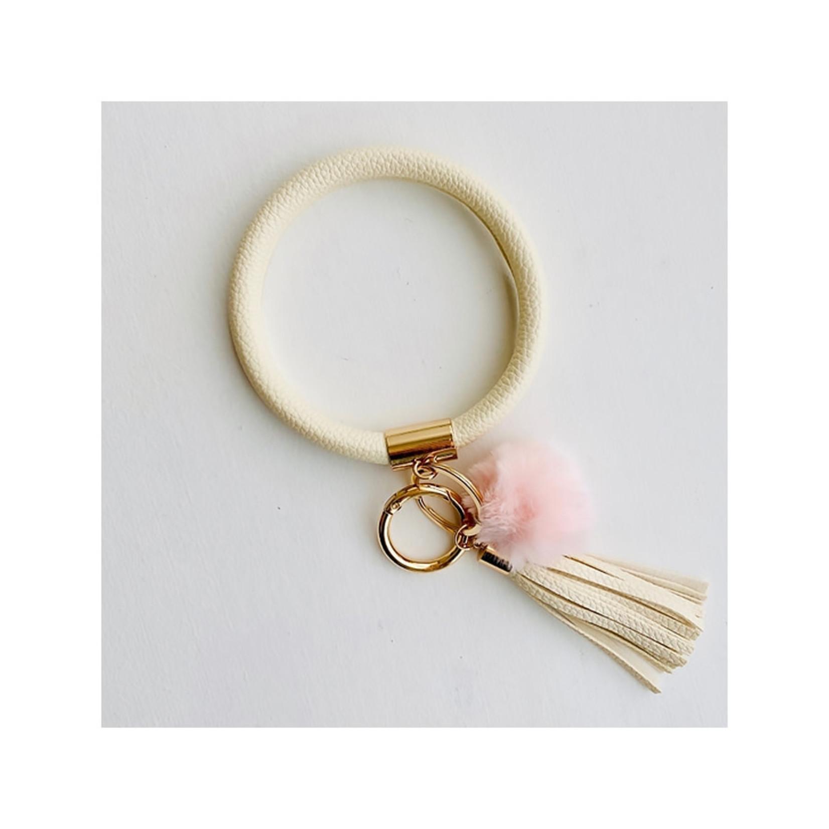 Tiny Gift Society Bangle Keychain with Pom