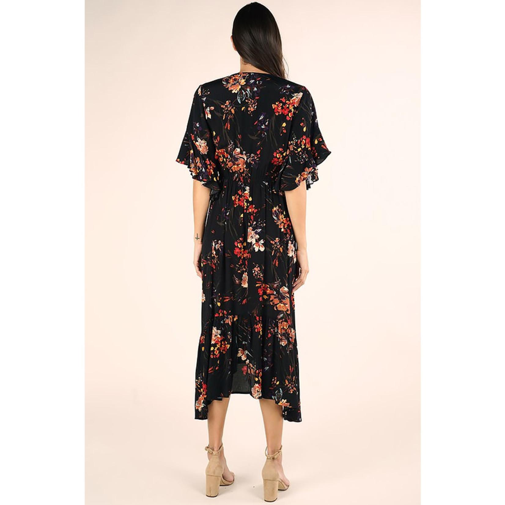 Love Stitch Floral Angel Sleeve Maxi Dress