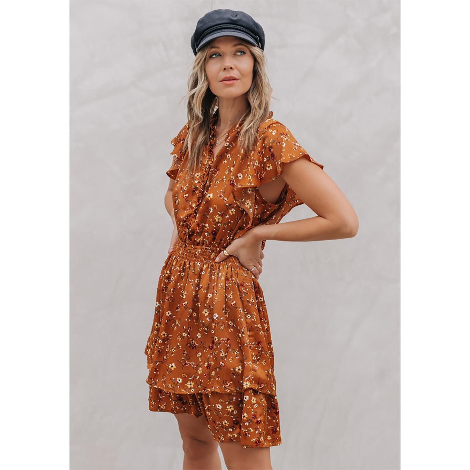 Love Stitch Floral Flutter Sleeve Smocked Waist Dress