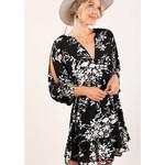 LOVESTITCH Printed Split Sleeve Smocked Waist Dress