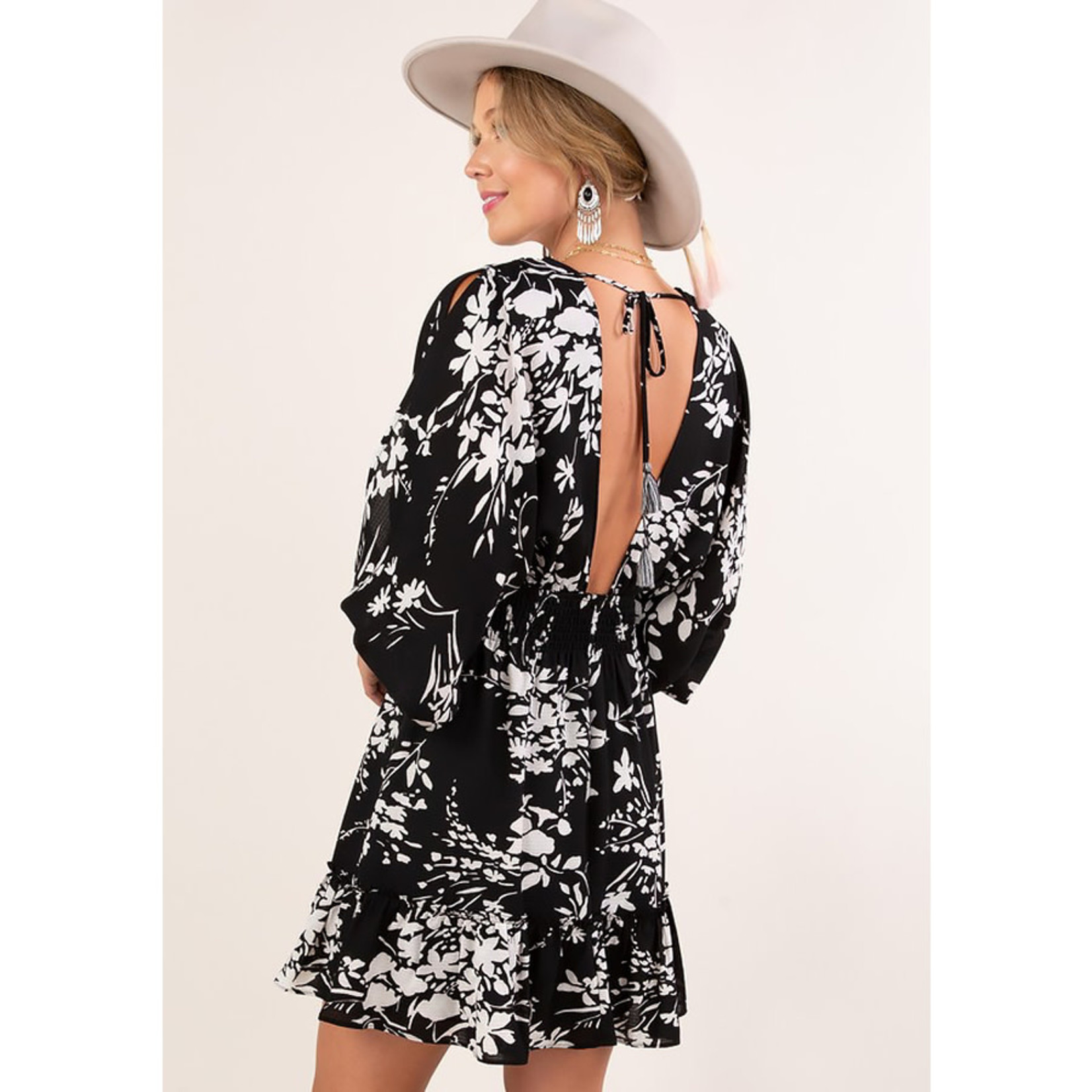 Love Stitch Printed Split Sleeve Smocked Waist Dress