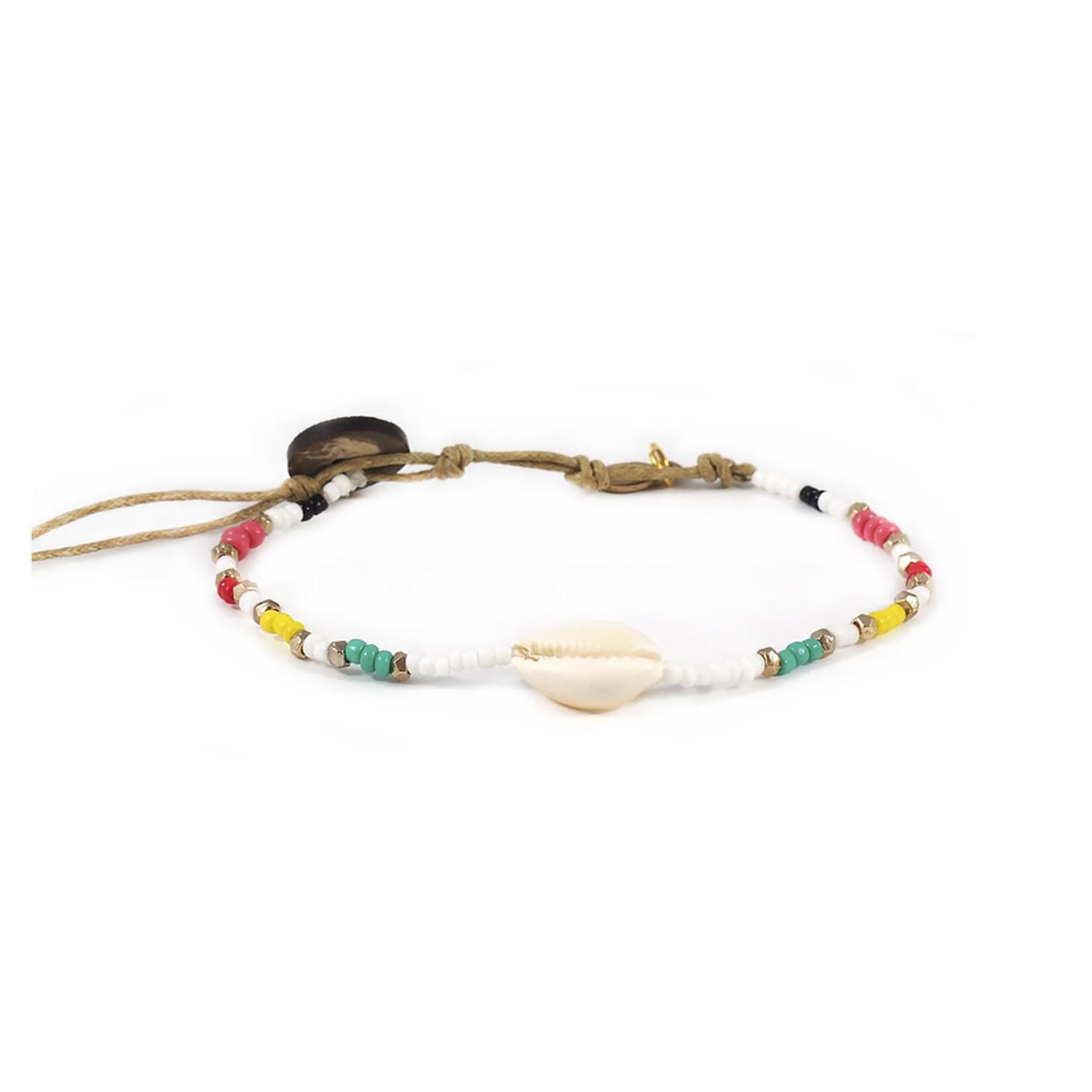 Lotus and Luna Seed Bead Shell Bracelet