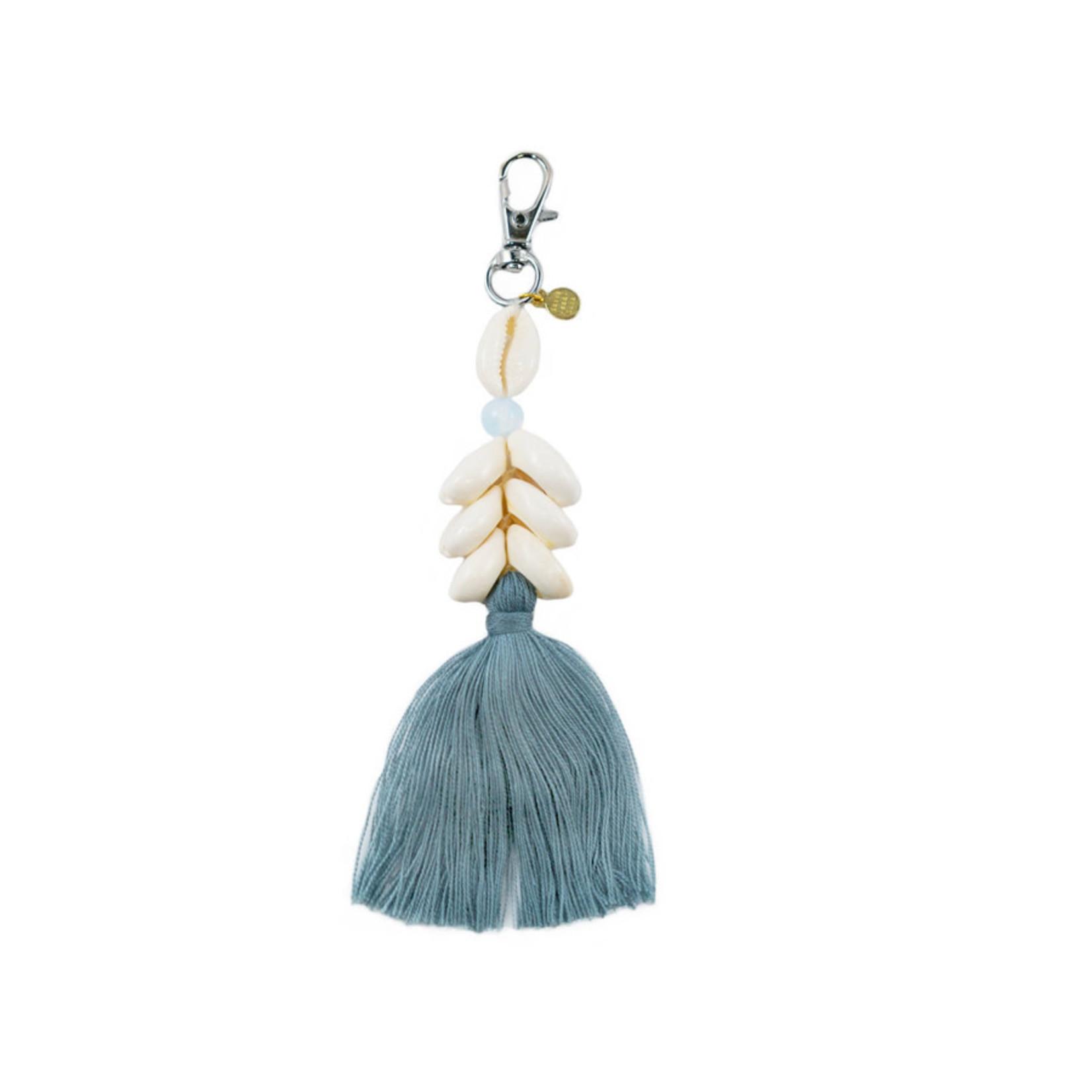 Lotus and Luna Cowry Shell Keychain