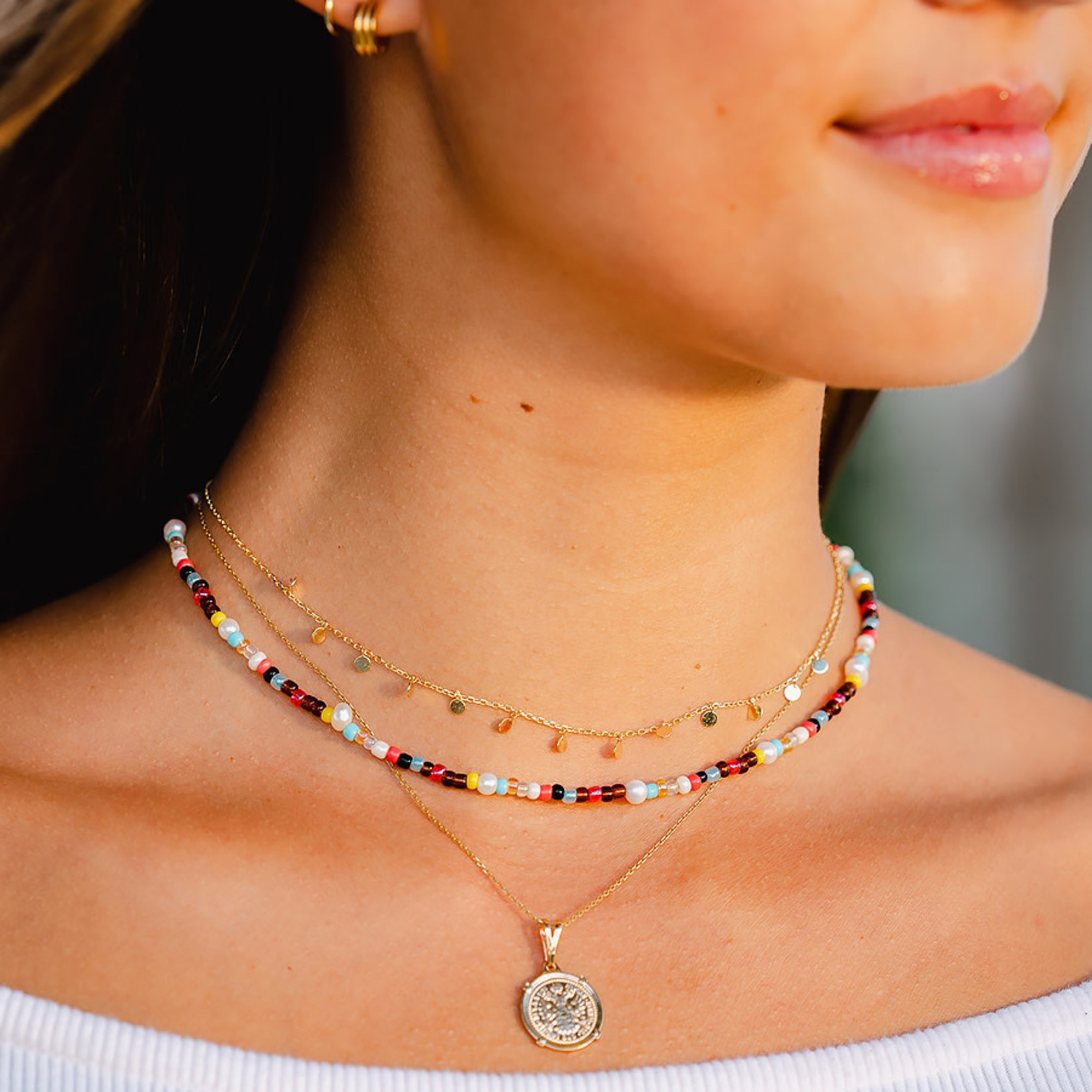 Lotus and Luna Seed Bead Shell Necklace