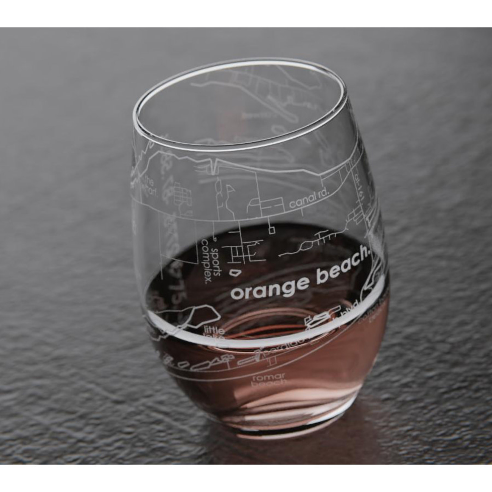 Well Told Orange Beach Map Stemless Wine Glass