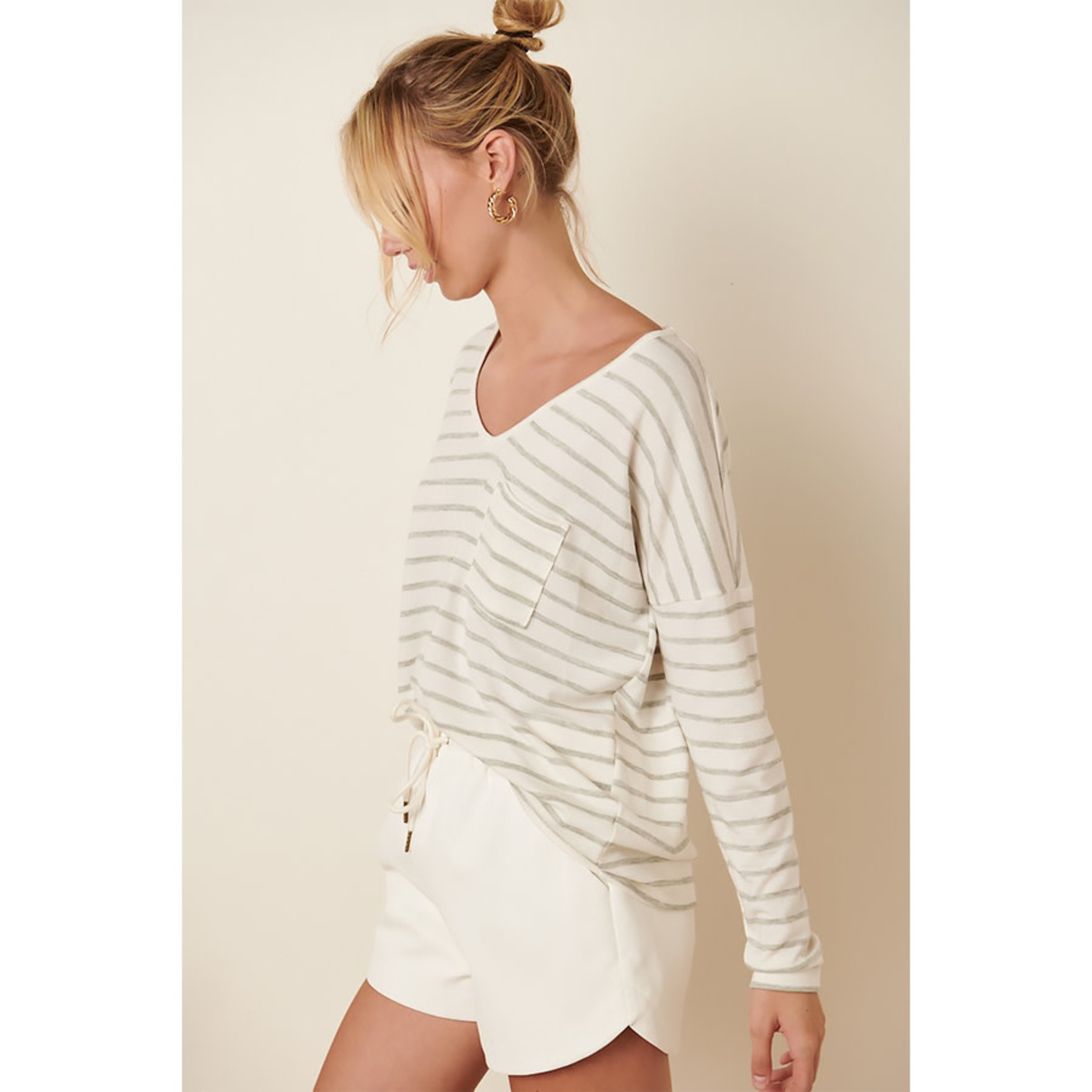 Mittoshop Stripe Left Long Sleeve Top