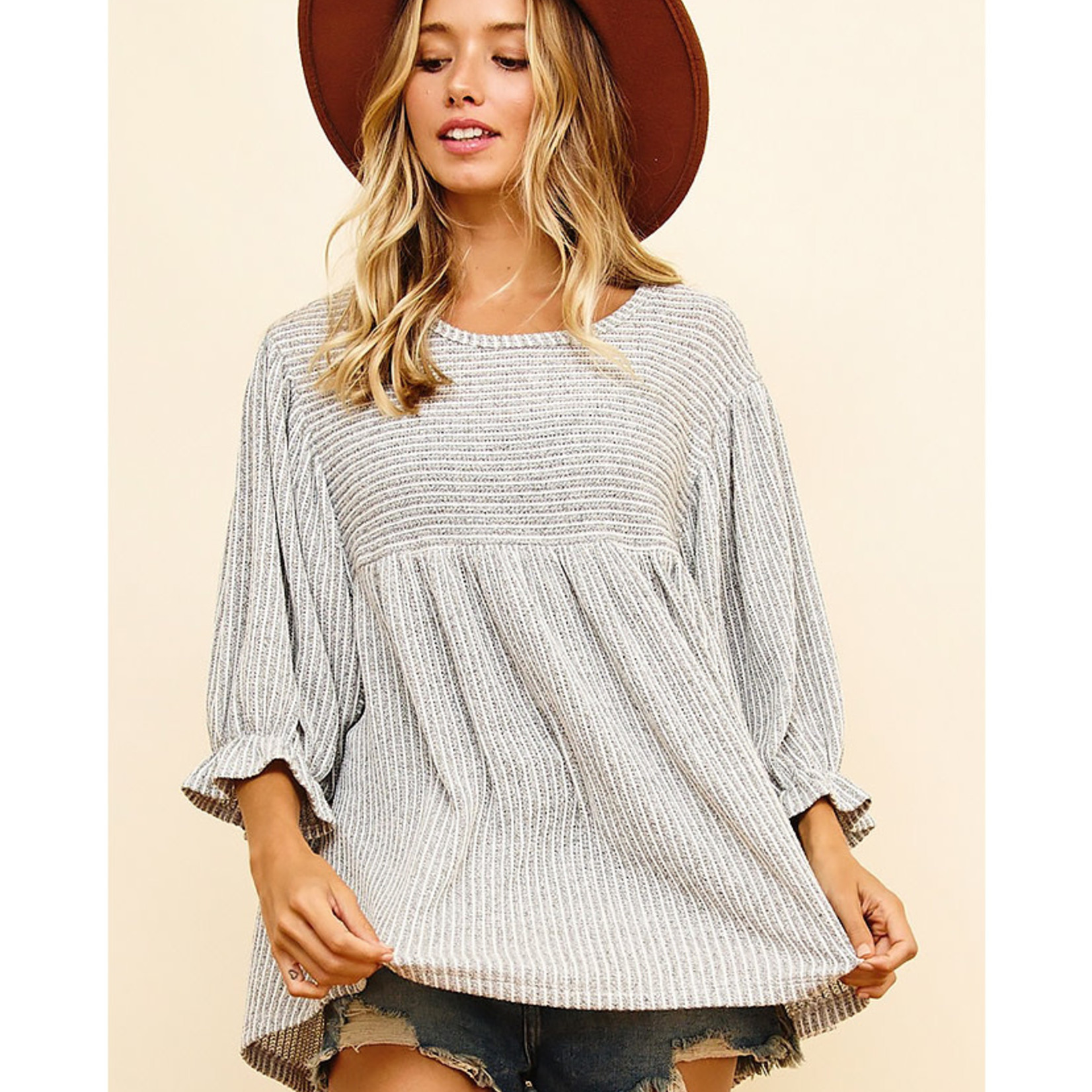 Ces Femme Ruffle My Feathers Baby Doll Sweater