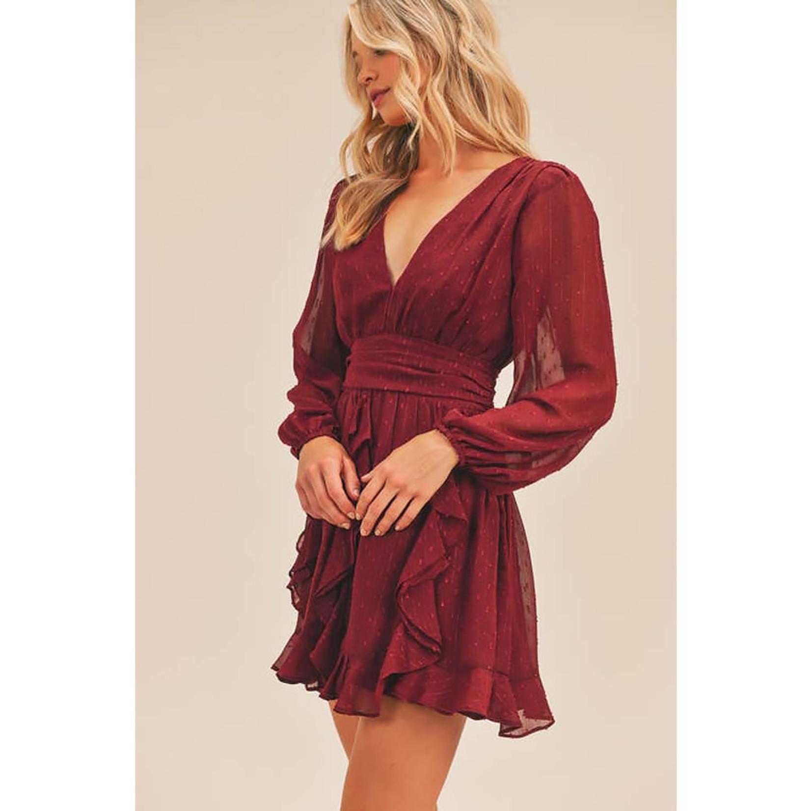LUSH Shimmery Nights Ruffle Mini Dress