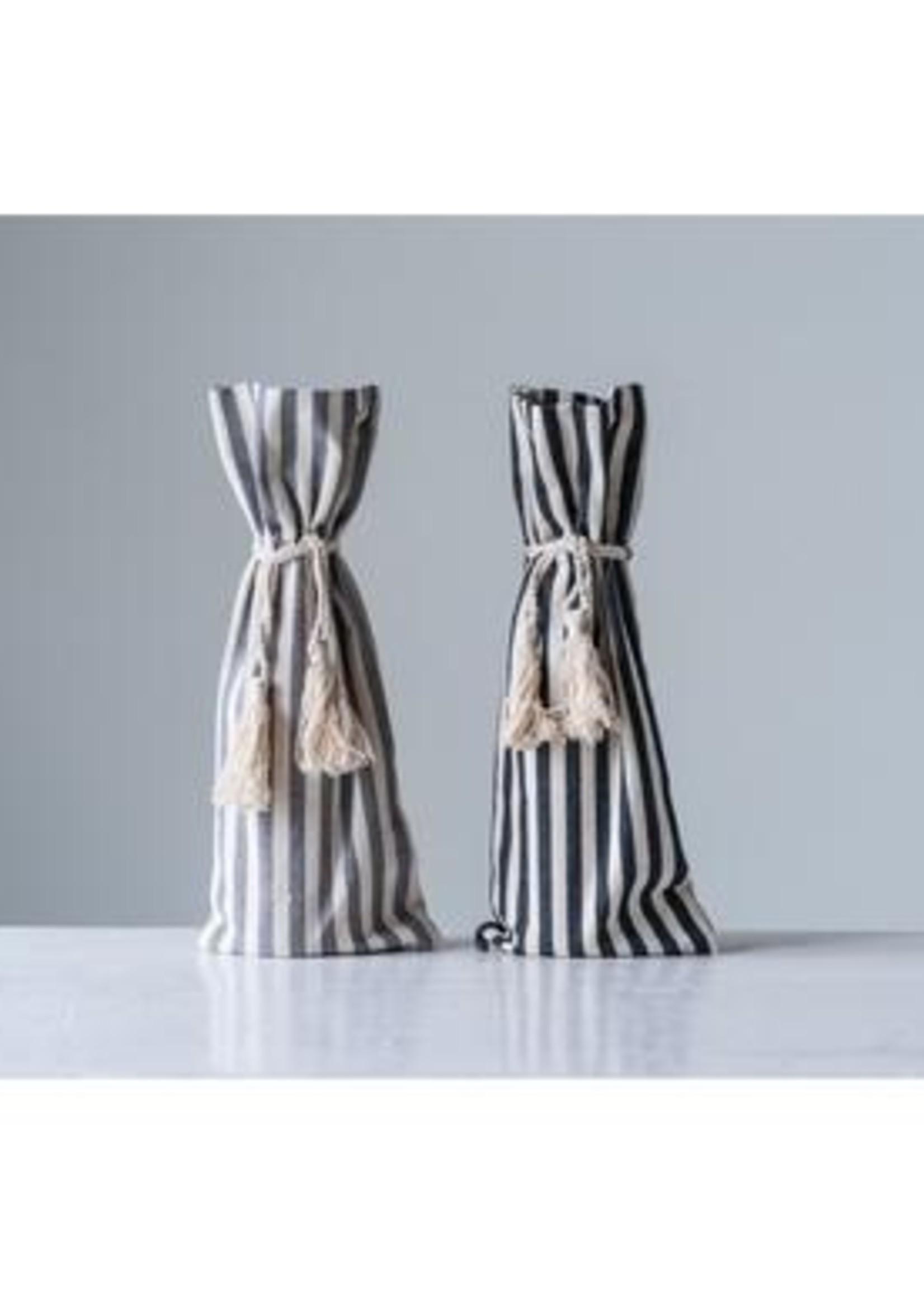 Creative Co-Op Inc Striped Wine Bag