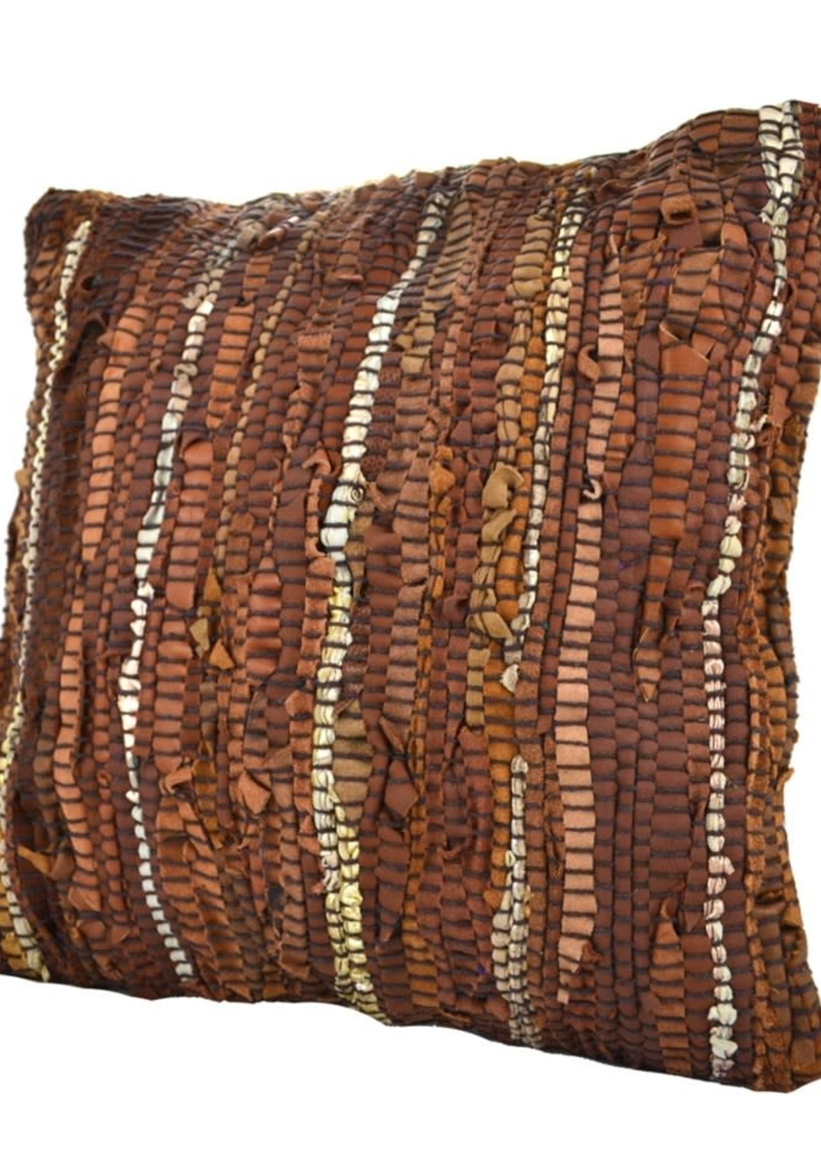 Nostalgia coussin cuir brun