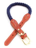 "Auburn Leathercrafters Auburn Leather Navy Cotton/Leather Collar 3/4""x22"""