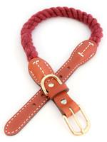 "Auburn Leathercrafters Auburn Leather Maroon Cotton/Leather Collar 3/4""x16"""