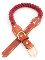 "Auburn Leathercrafters Auburn Leather Maroon Cotton/Leather Collar 3/4""x20"""