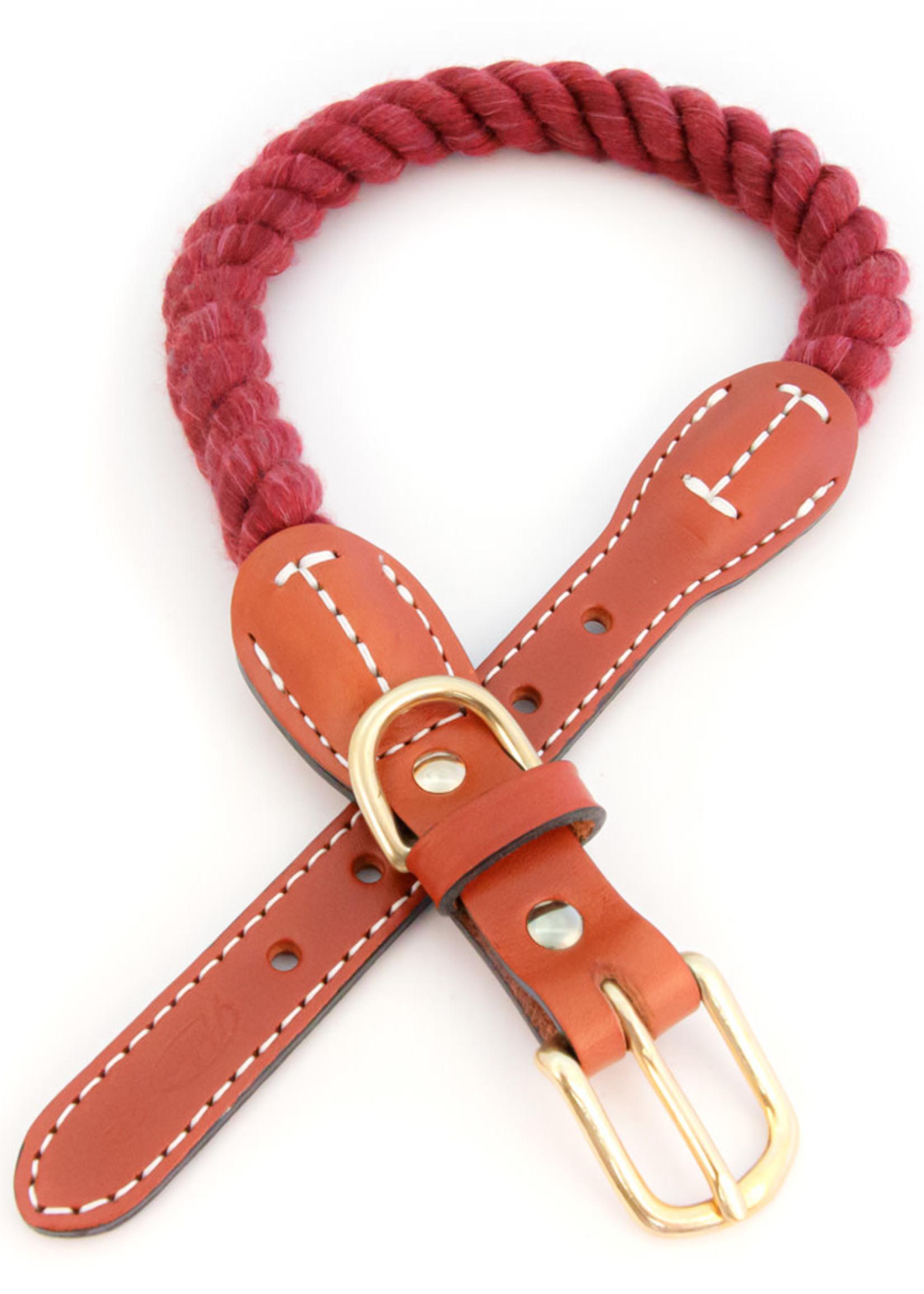 "Auburn Leathercrafters Auburn Leather Maroon Cotton/Leather Collar 3/4""x24"""