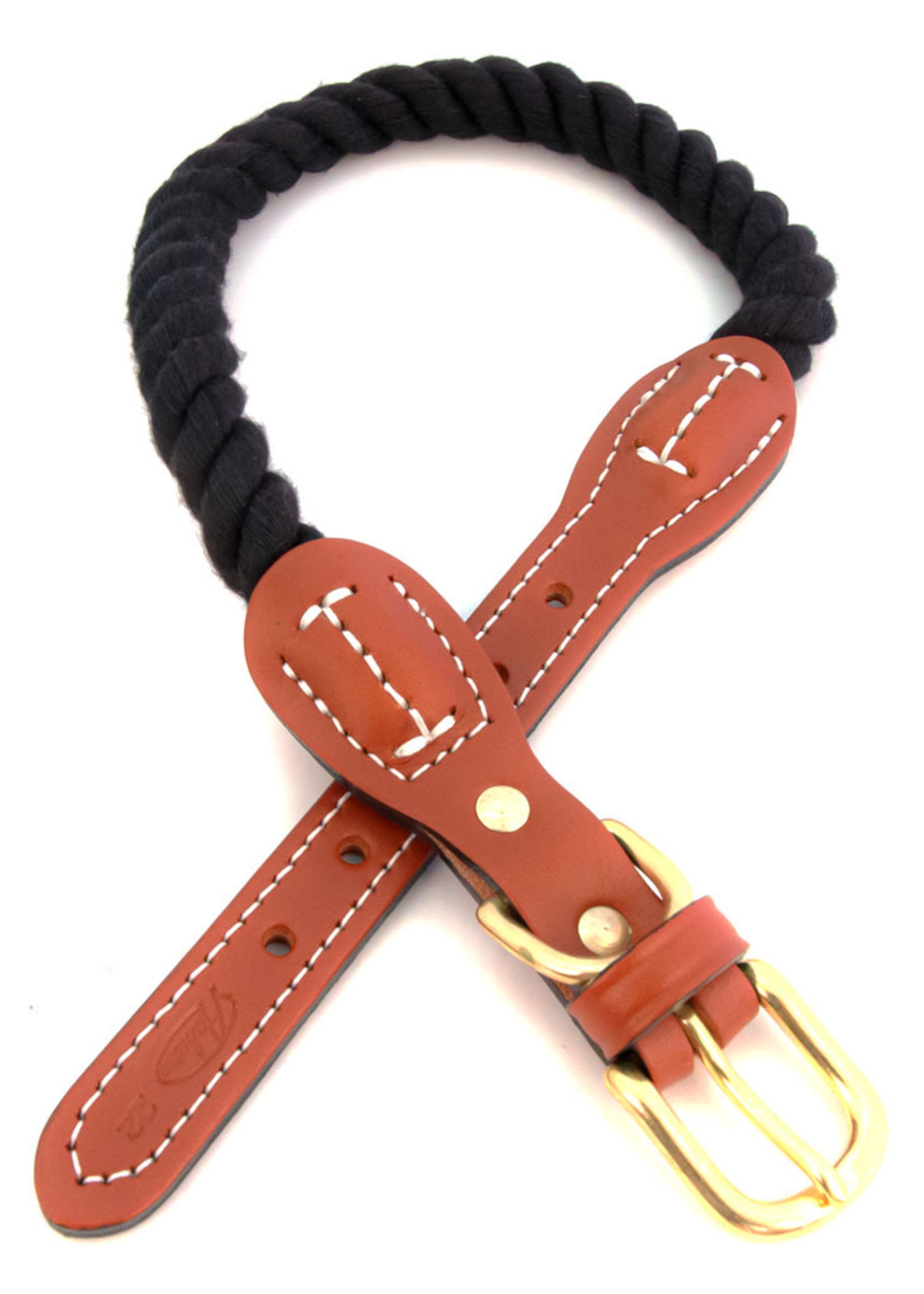 "Auburn Leathercrafters Auburn Leather Black Cotton/Leather Collar 3/4""x16"""