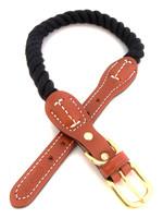 "Auburn Leathercrafters Auburn Leather Black Cotton/Leather Collar 3/4""x20"""