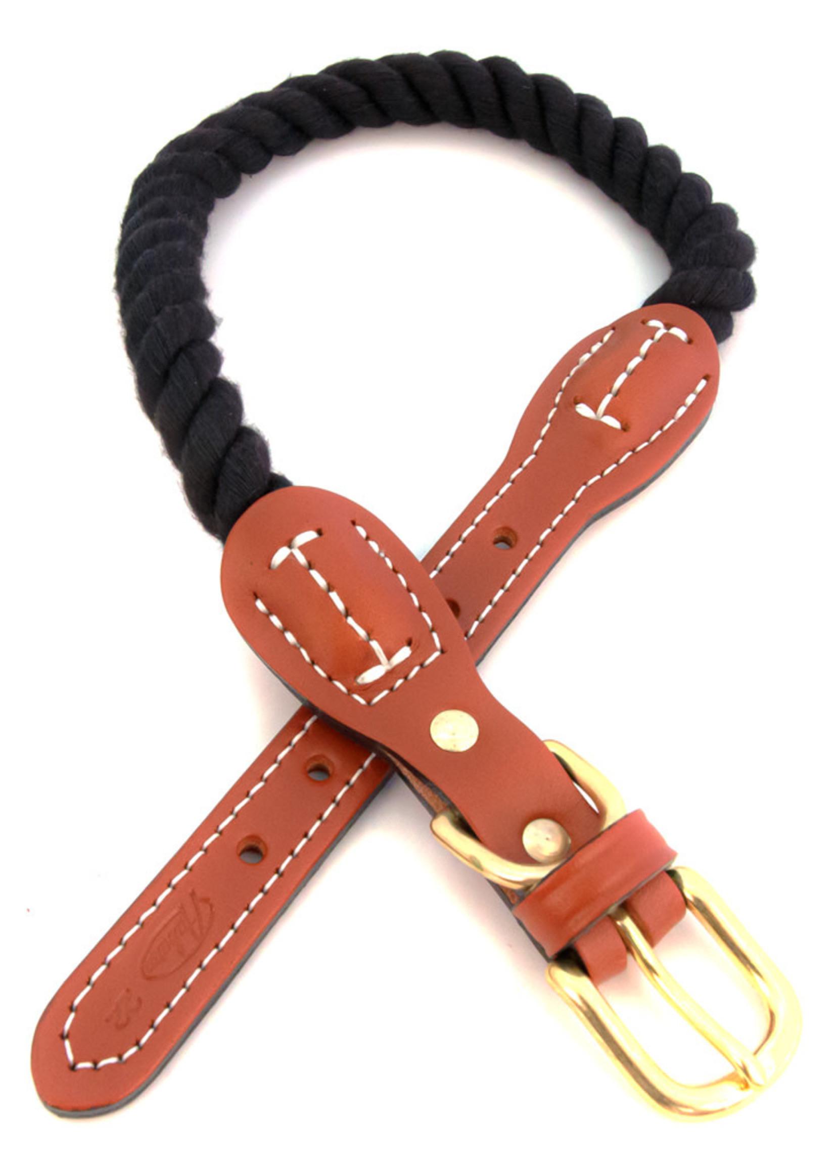 "Auburn Leathercrafters Auburn Leather Black Cotton/Leather Collar 3/4""x22"""