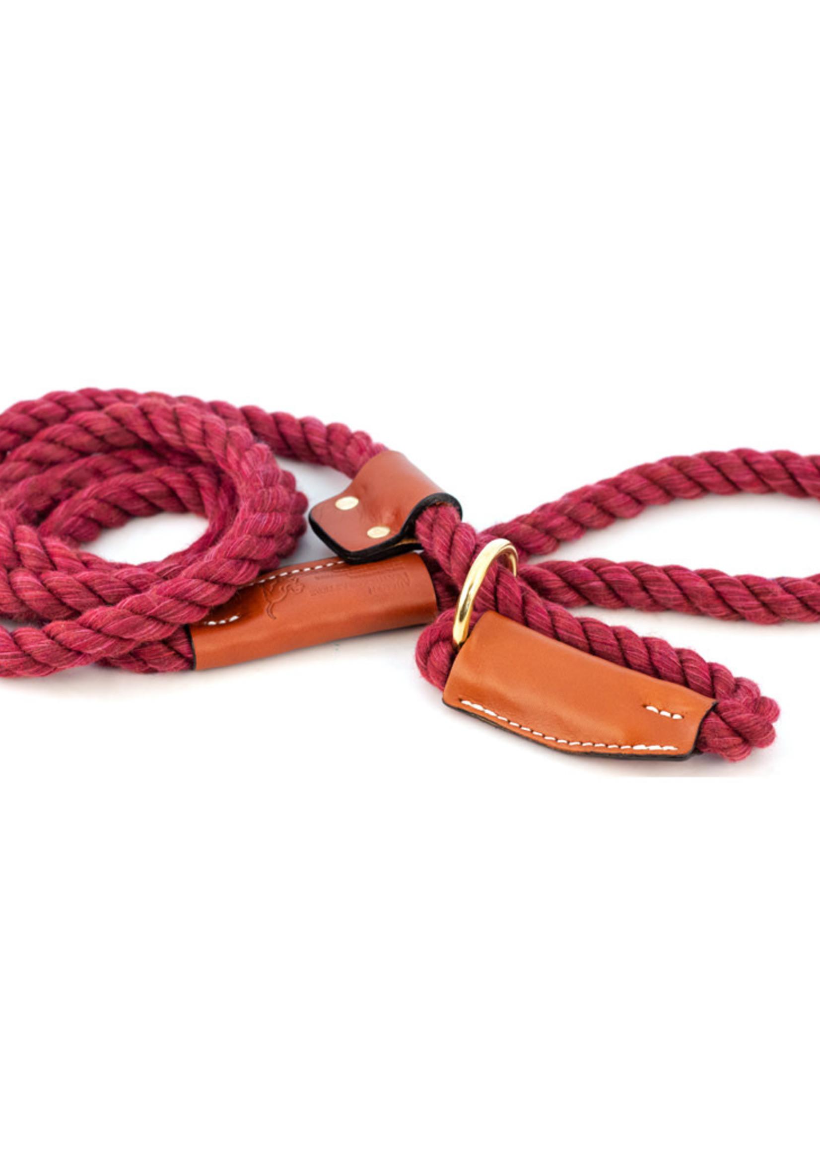 "Auburn Leathercrafters Auburn Leather Rope Leash Snap 1/2"" Maroon"