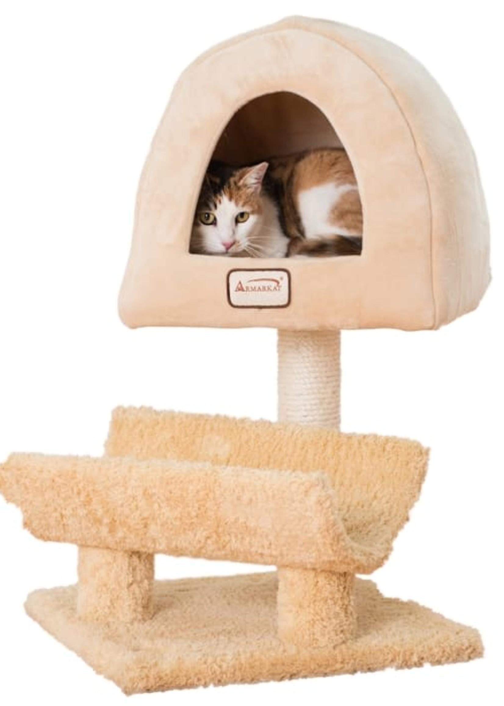 Armarkat Armarkat 31-in Cat Scratching Post & Condo Cat Tree, Goldenrod