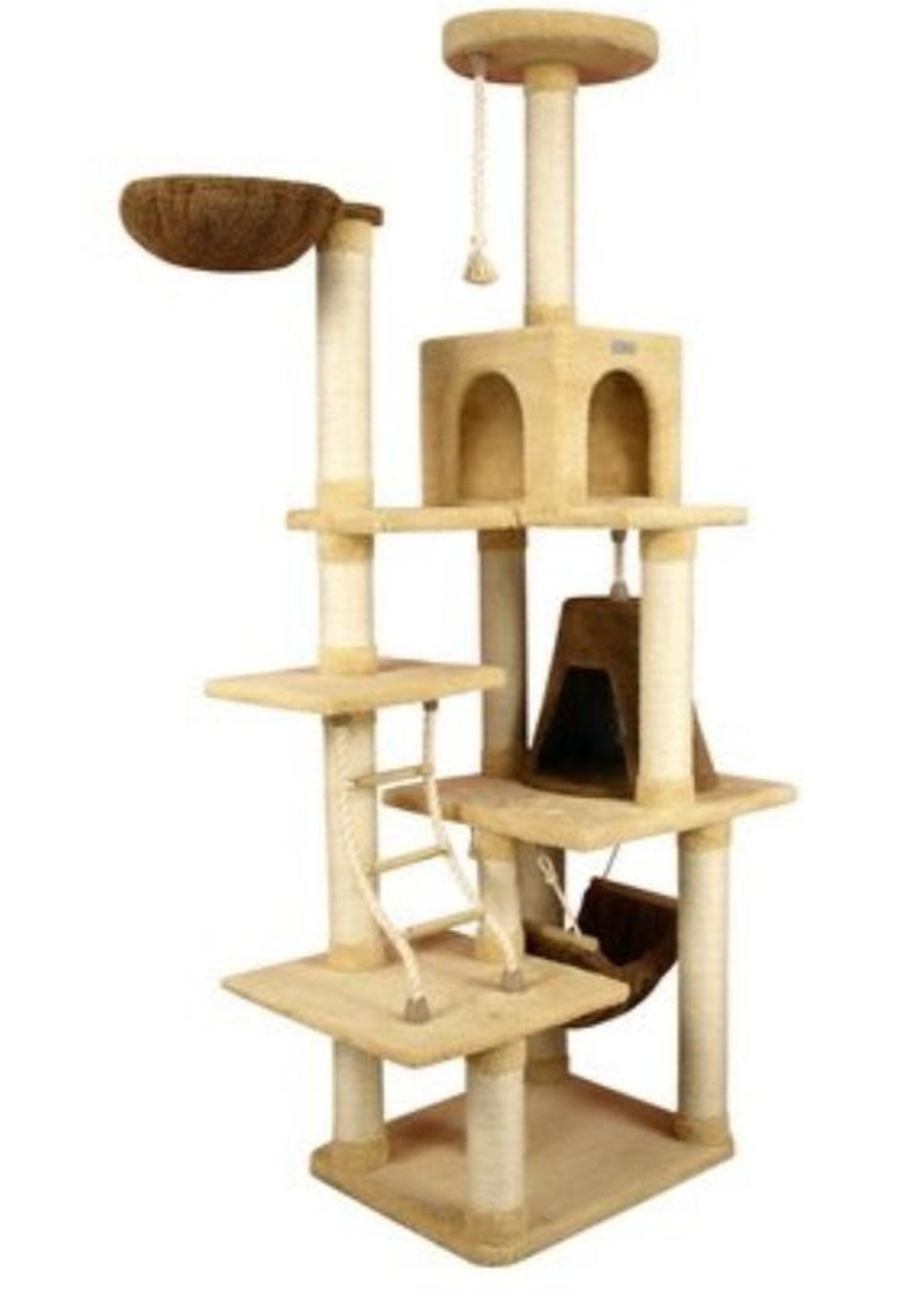 "Armarkat Armarkat 78"" H Cat Climber Play House w/Lounge Basket Goldenrod"